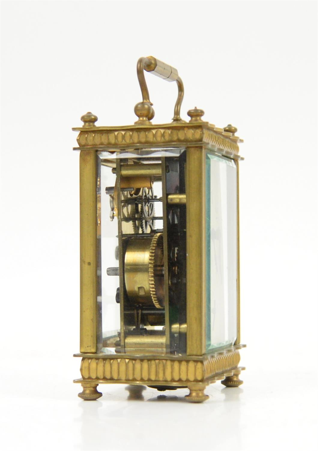 French brass carriage clock, the silvered dial with Arabic numerals and seconds subsidiary dial, - Image 2 of 5