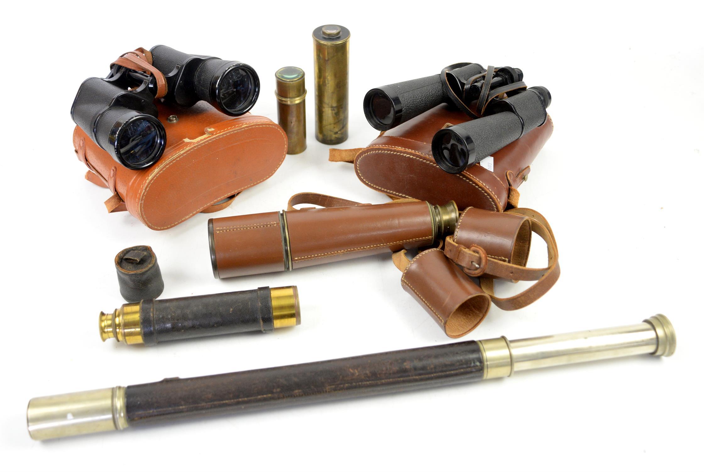 Brass three draw telescope by Salom & Co. Edinburgh, four draw telescope by Broadhurst,