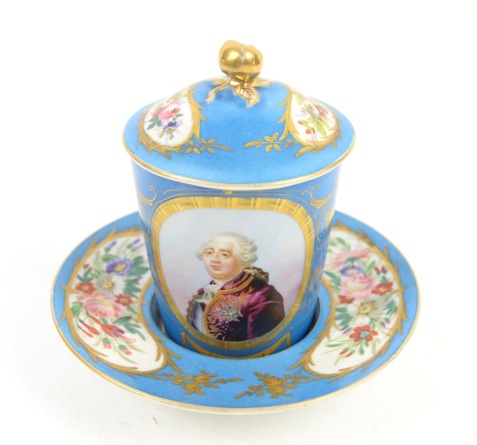 """Early 19th century Sevres """"Bleu Celeste"""" milk cup with cover and saucer, decorated with a portrait"""