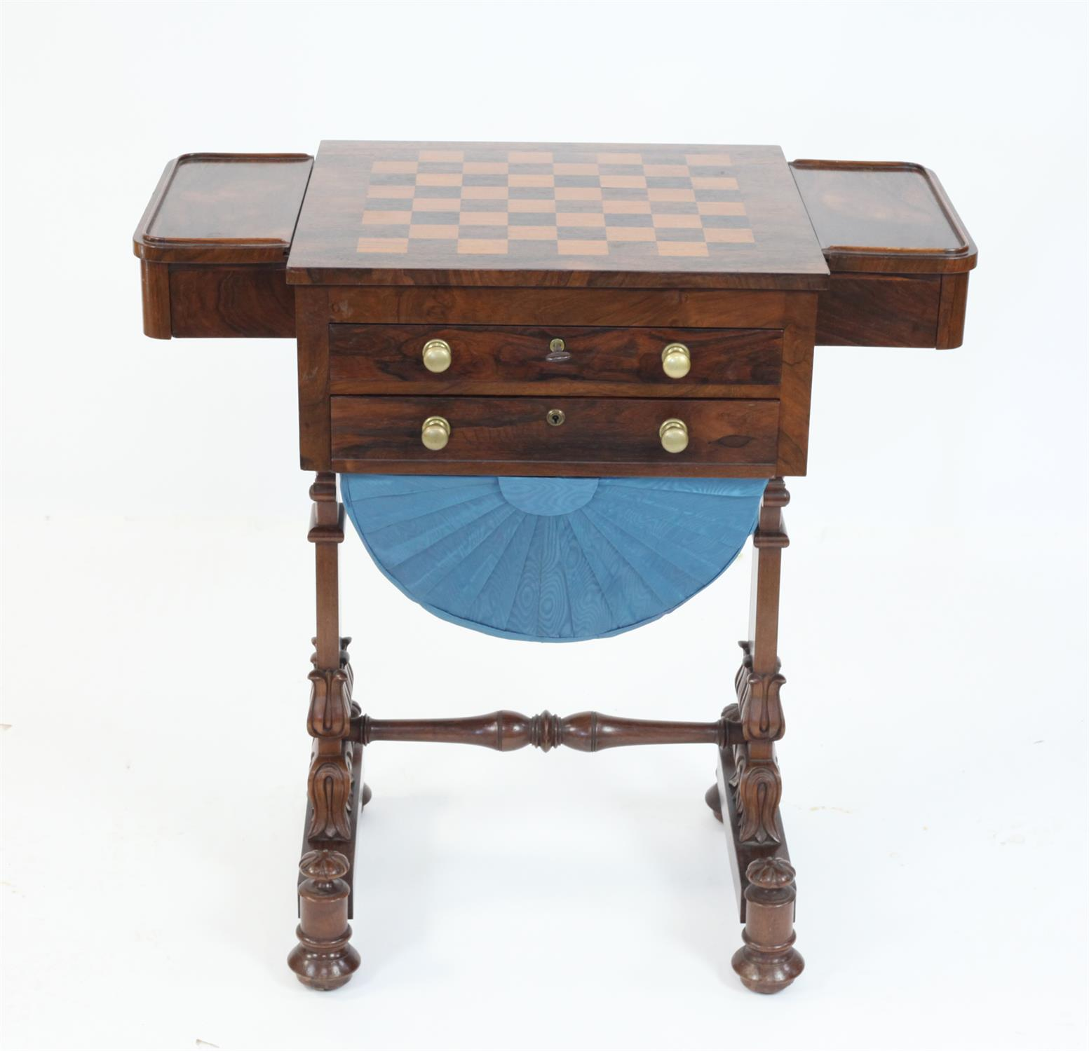 Early 19th Century rosewood games and work table with chessboard top flanked by drawers over