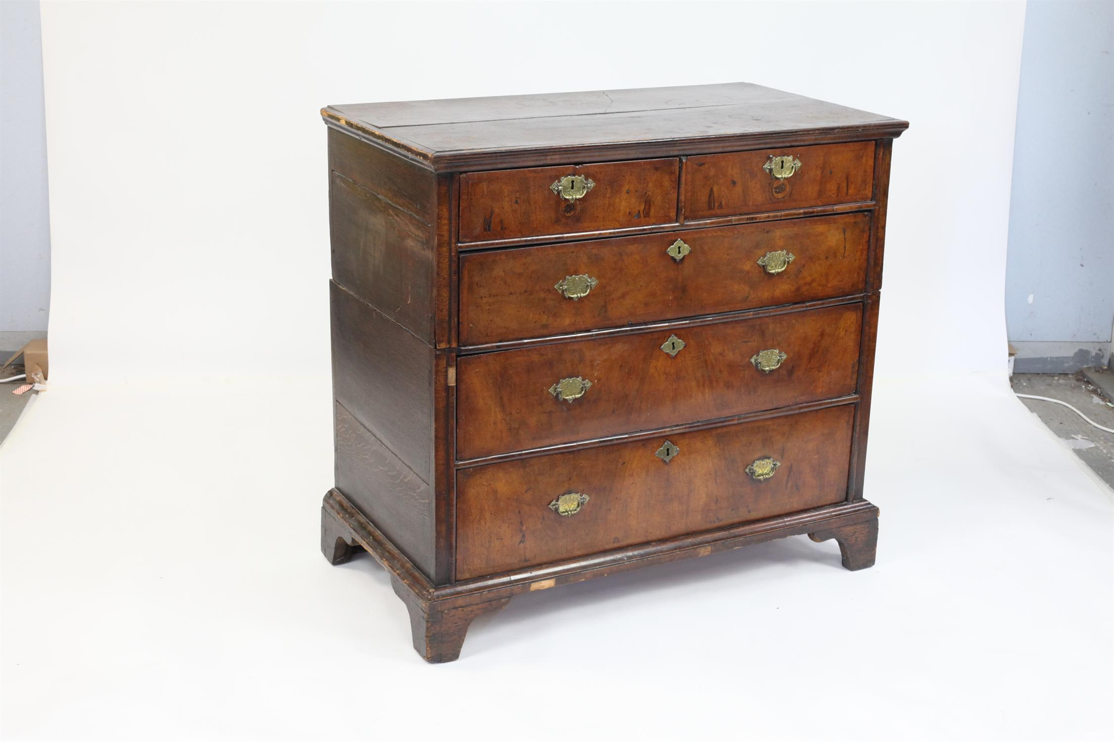 19th century walnut chest of two short over three long drawers on bracket feet, H97 x W103 x D56cm - Image 2 of 3