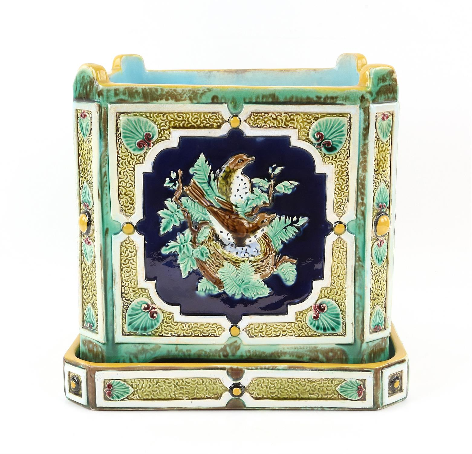 Minton style planter on stand, decorated with pairs of birds on nests. 22cm High, 21.5cm wide, 21.