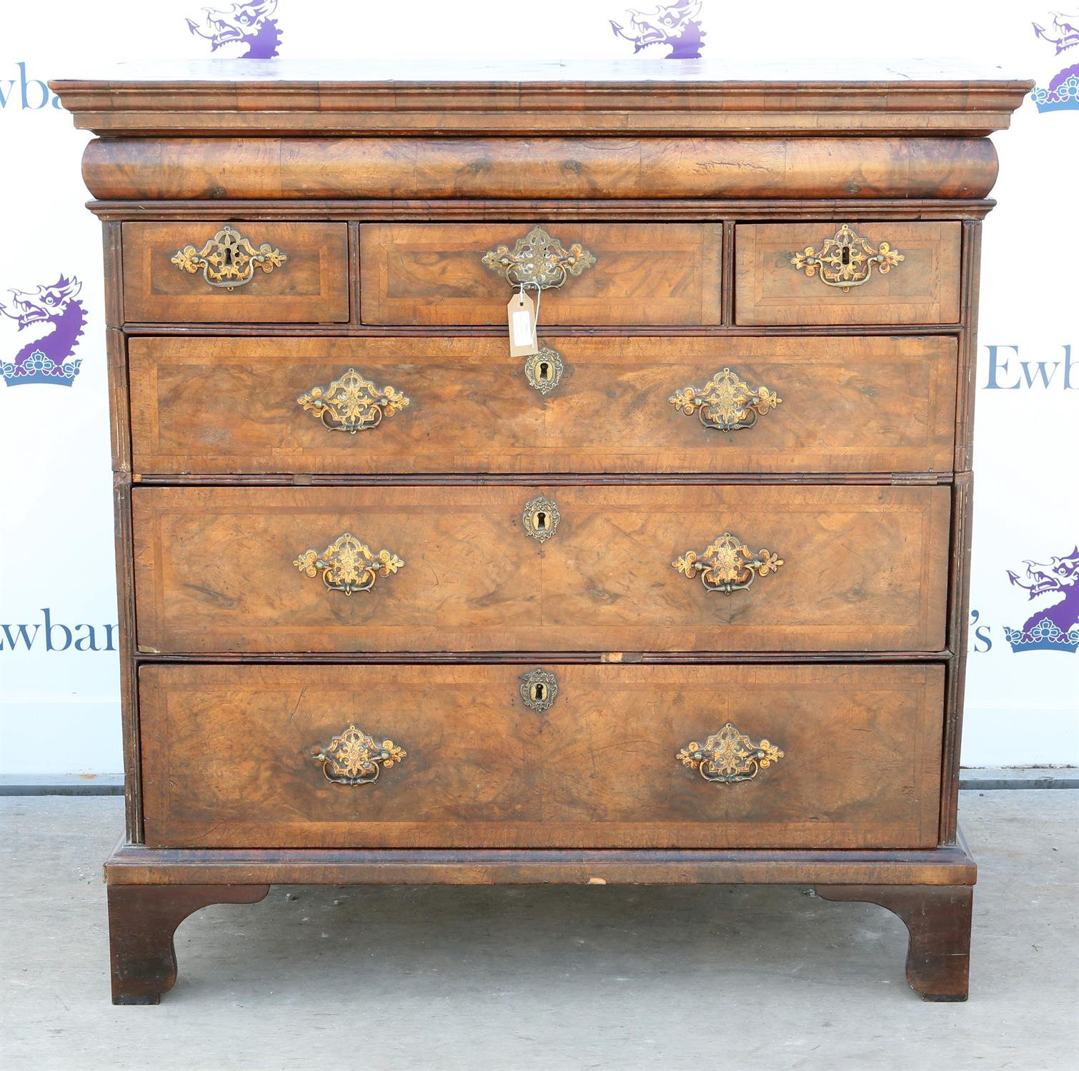 19th century mahogany chest of drawers, with single frieze drawer above three short over three long