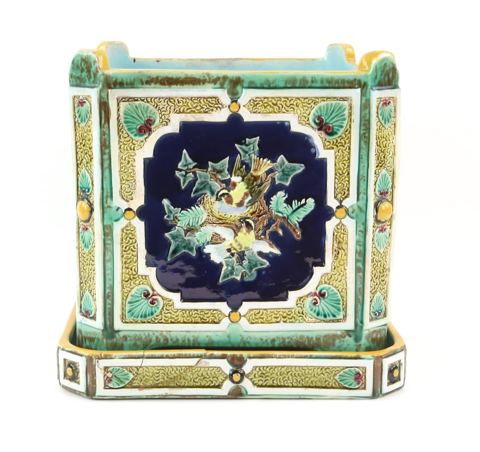 Minton style planter on stand, decorated with pairs of birds on nests. 22cm High, 21.5cm wide, 21. - Image 4 of 10