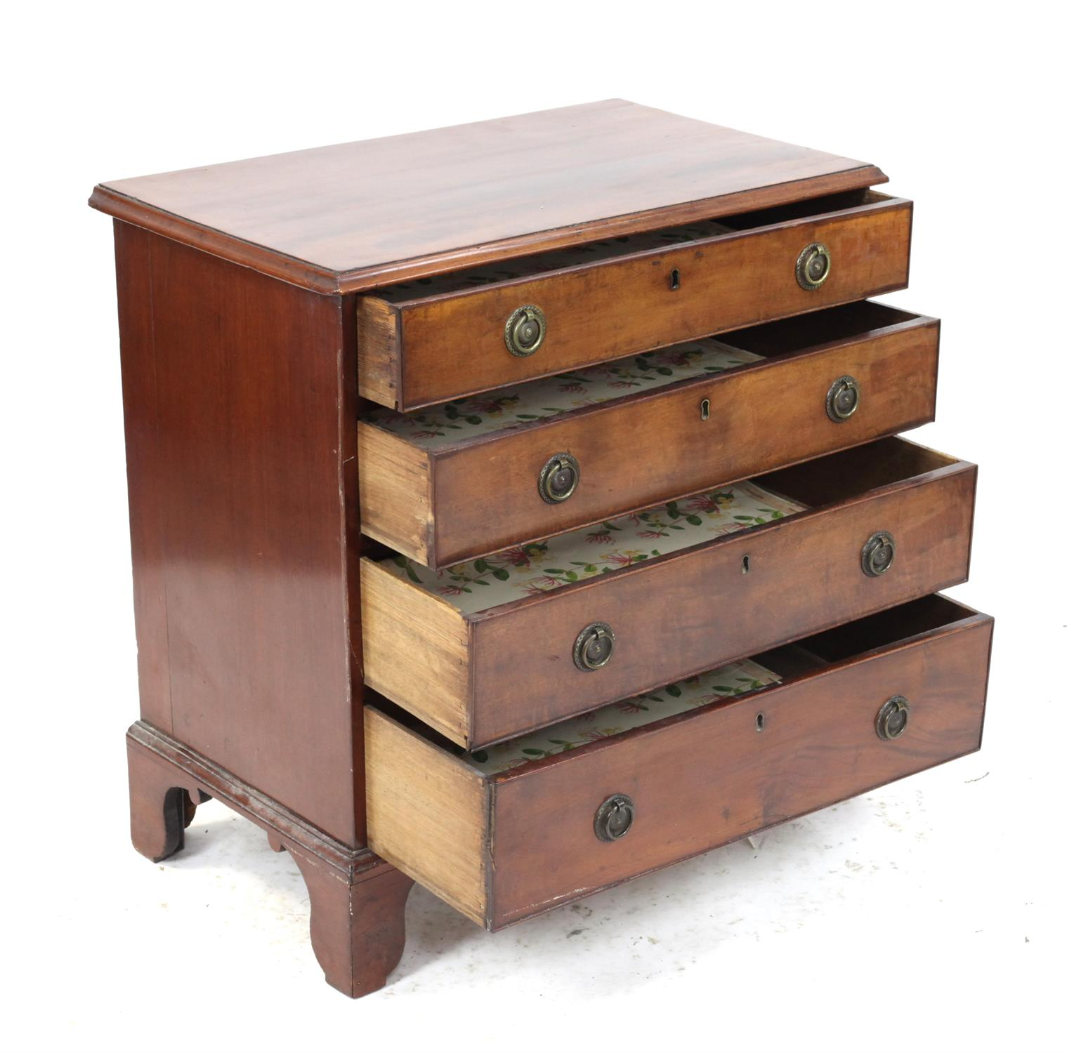 19th century mahogany chest of four graduated drawers on bracket feet, H76 x W75 x D44cm - Image 3 of 4
