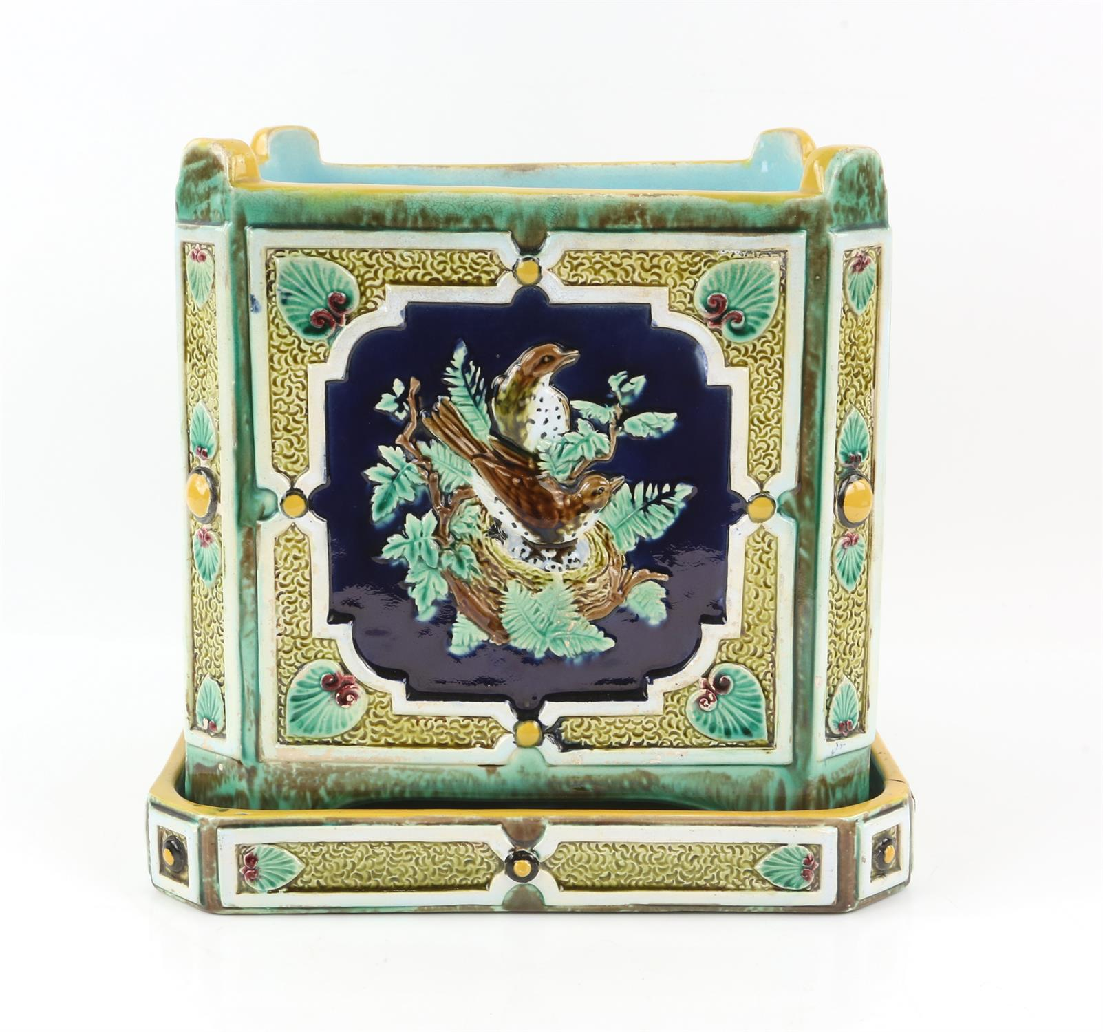 Minton style planter on stand, decorated with pairs of birds on nests. 22cm High, 21.5cm wide, 21. - Image 3 of 10