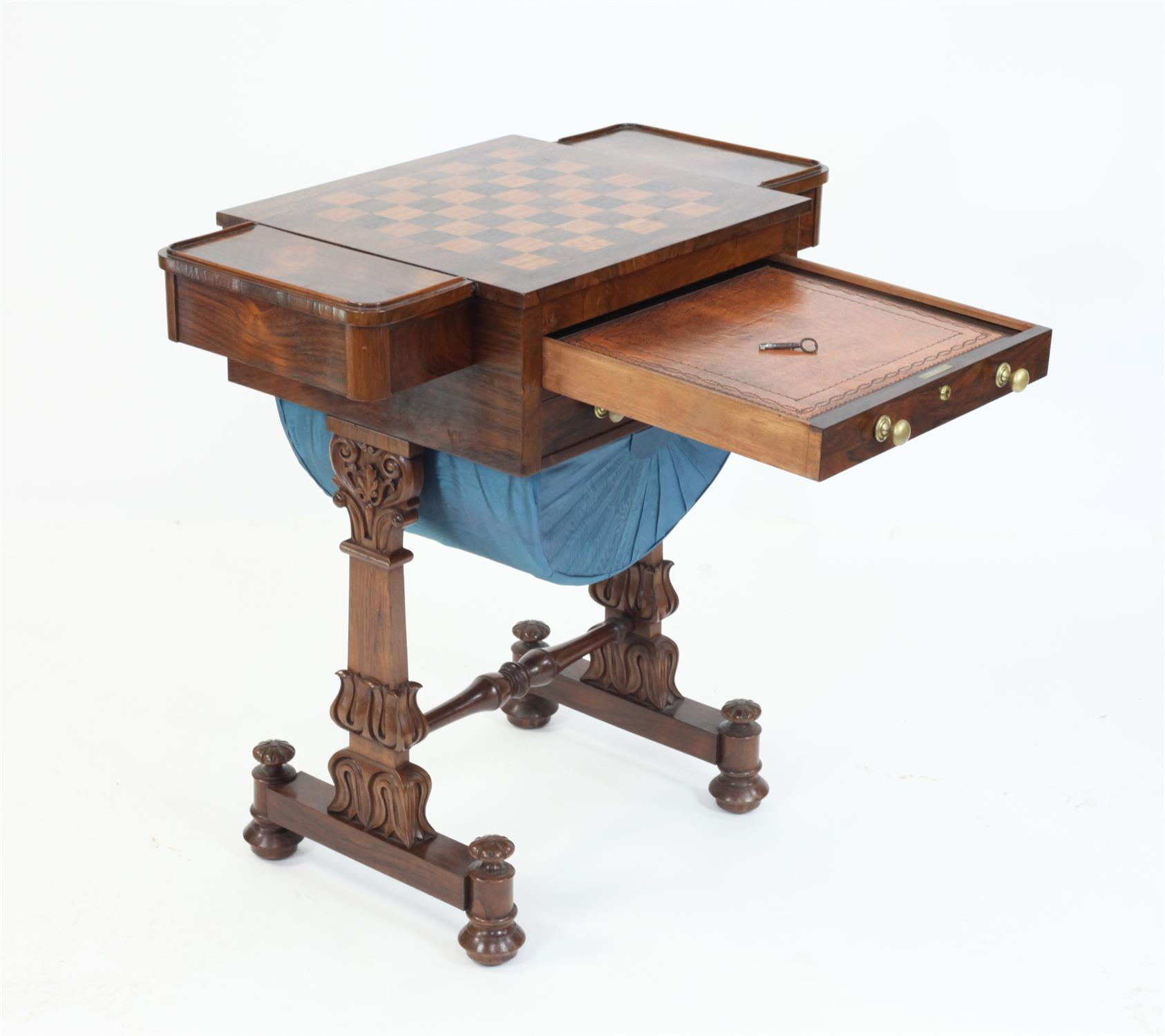 Early 19th Century rosewood games and work table with chessboard top flanked by drawers over - Image 4 of 5