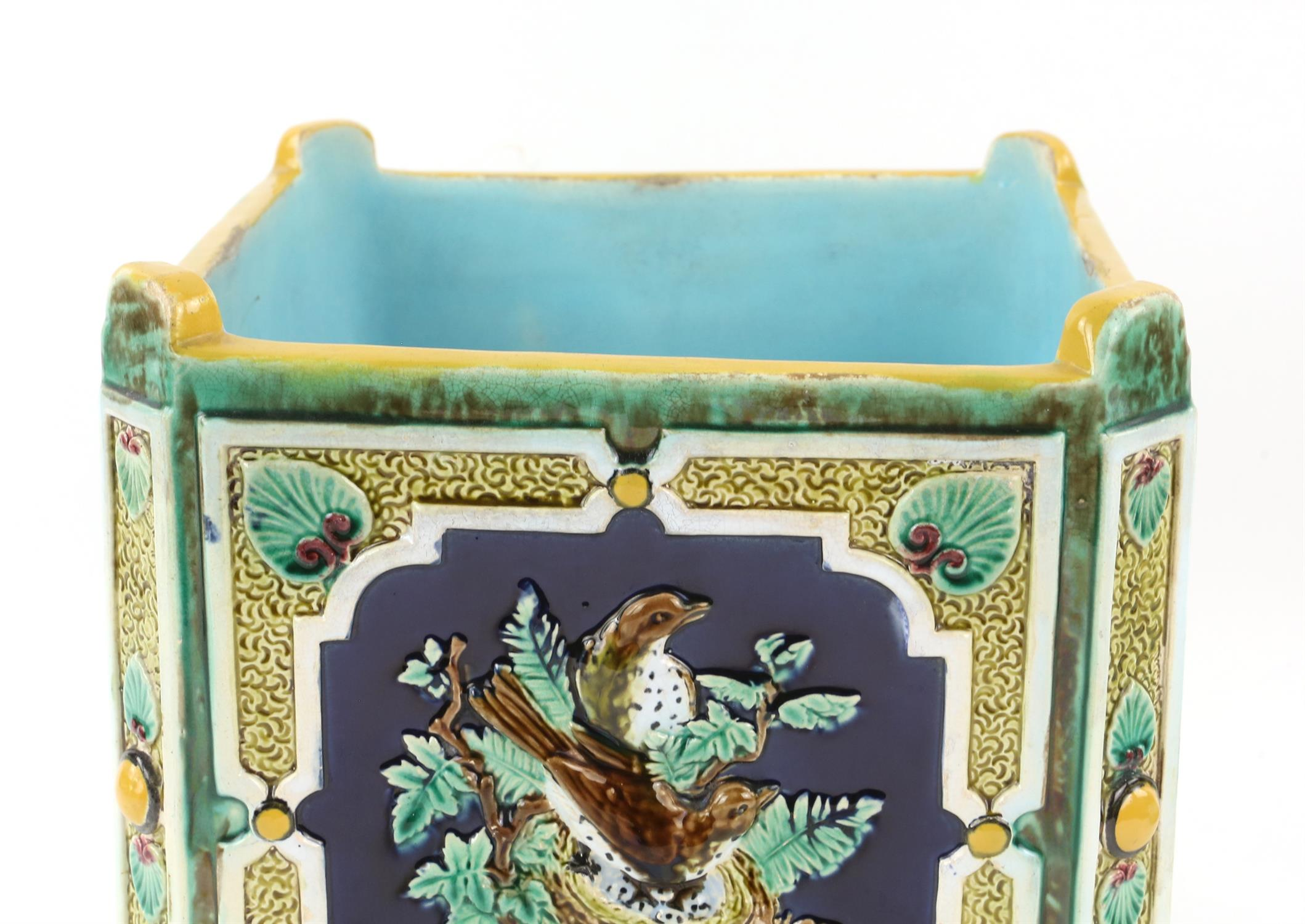 Minton style planter on stand, decorated with pairs of birds on nests. 22cm High, 21.5cm wide, 21. - Image 10 of 10