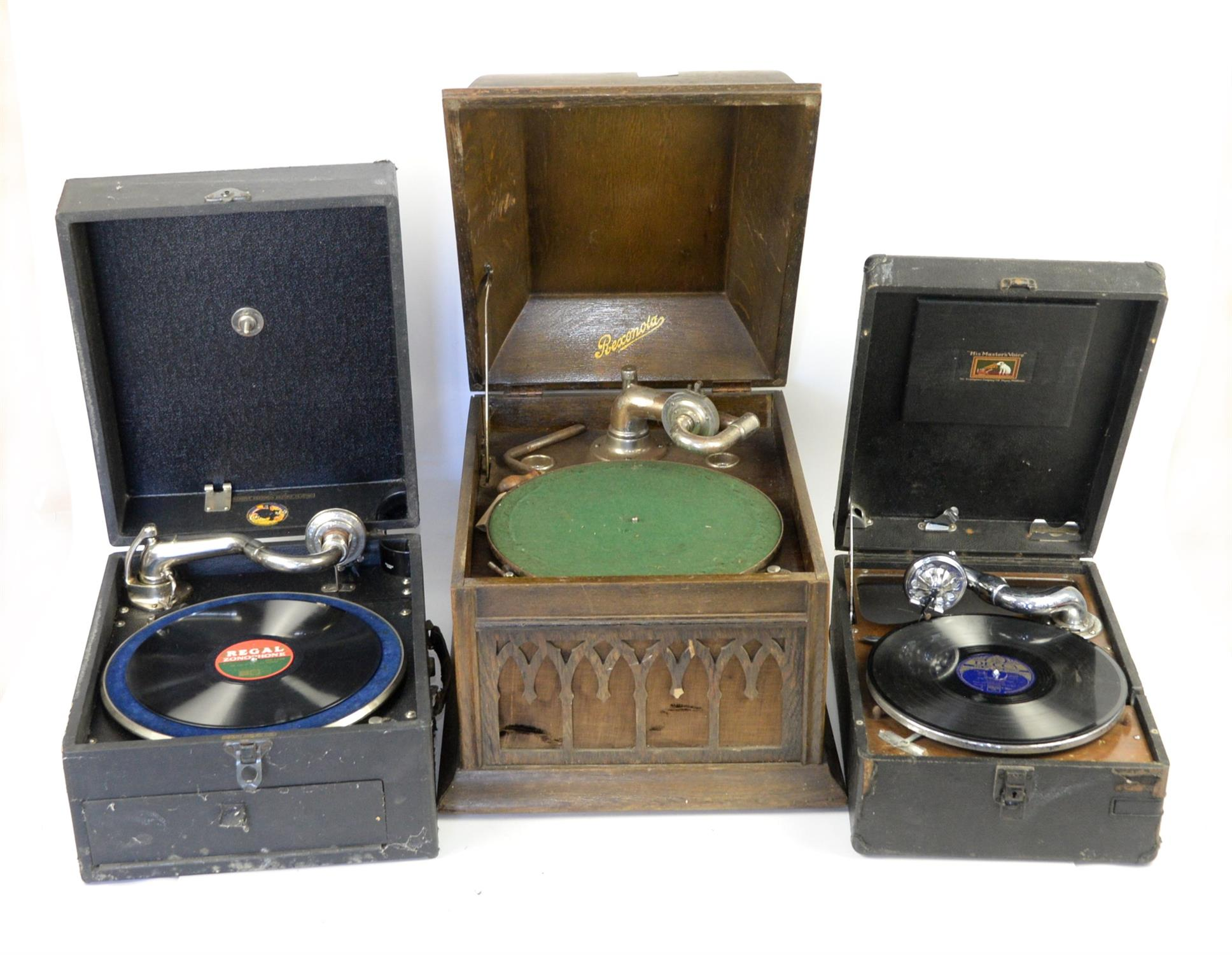 Three various wind-up gramophones. Provenance: from a private collection of musical boxes to be