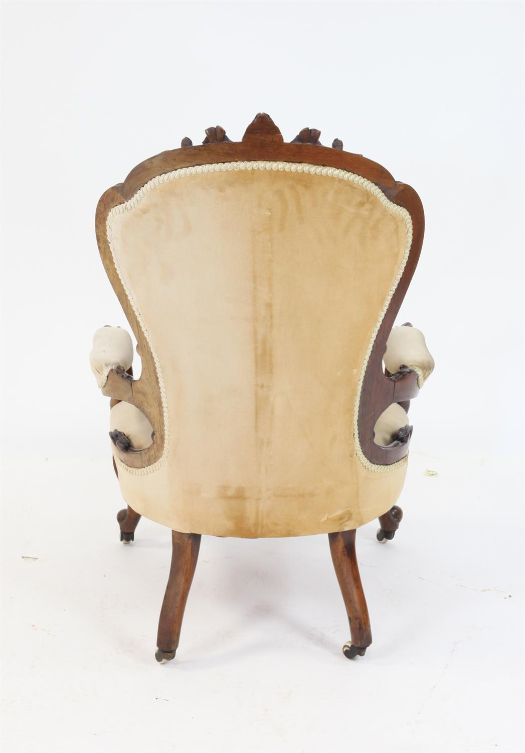 Victorian rosewood framed open armchair with carved back on carved cabriole legs - Image 3 of 3