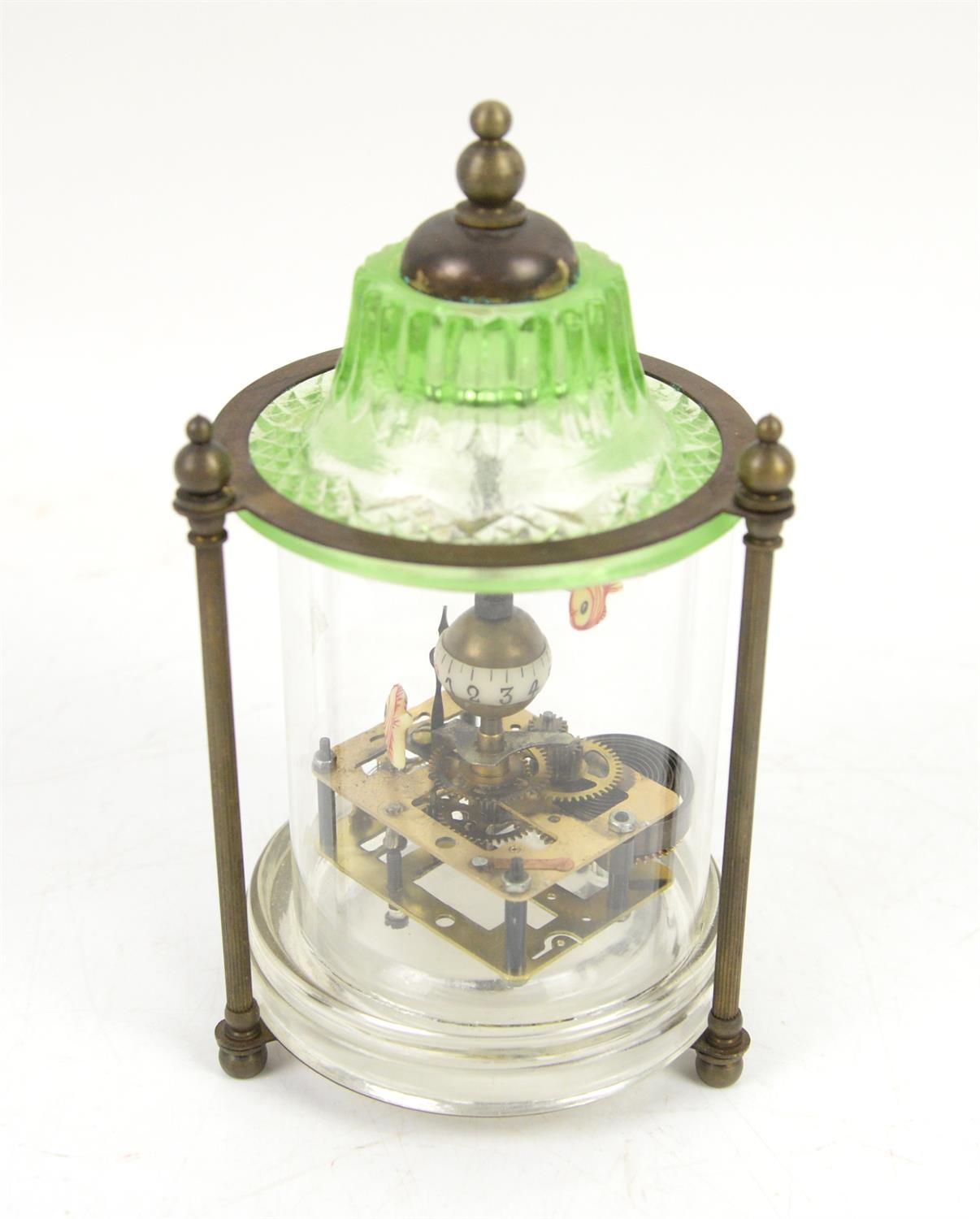 Chinese style automaton clock in glass cylindrical case with pagoda top, three reeded column - Image 2 of 2