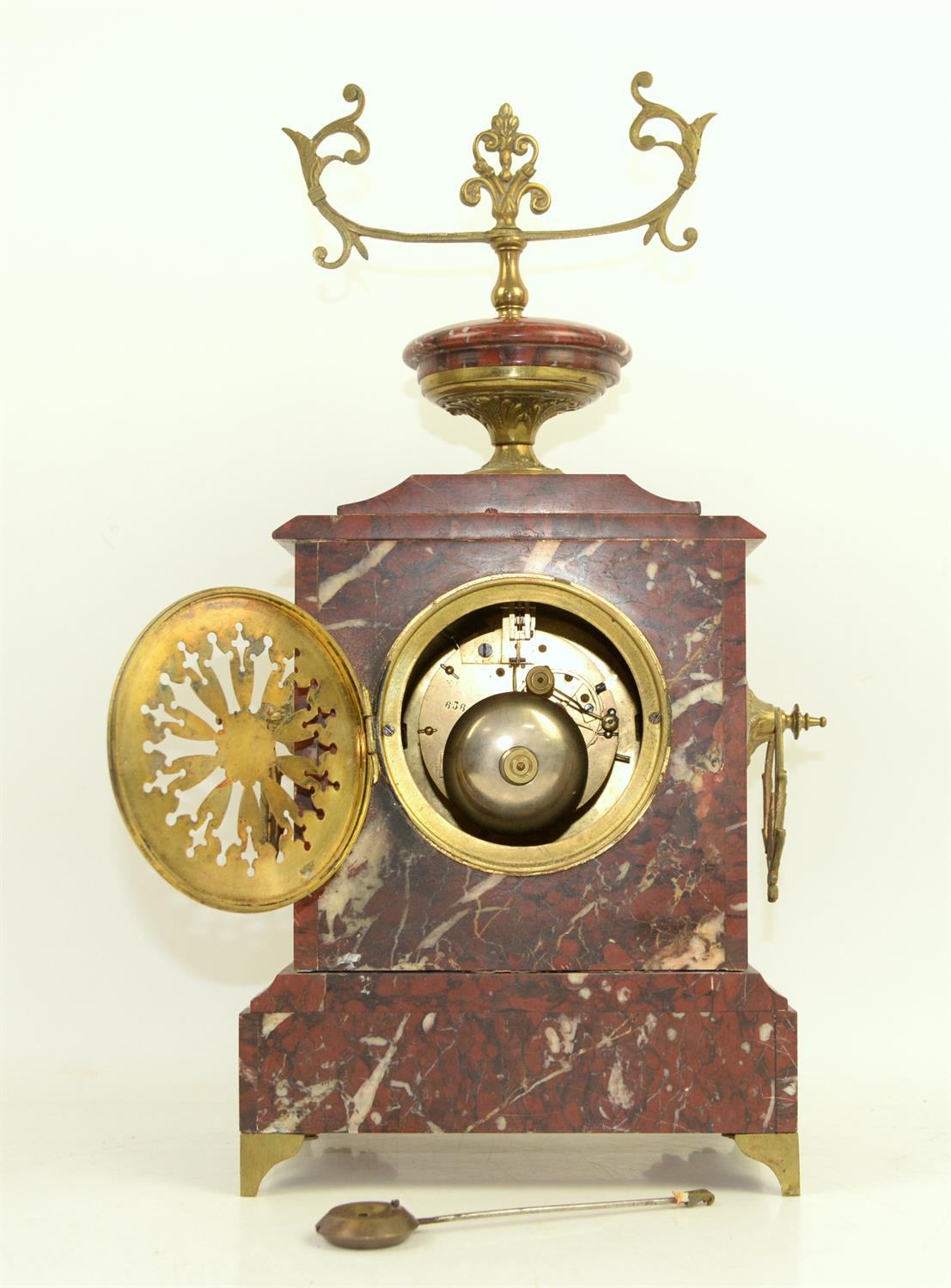 French rouge marble 8 day clock garniture by Japy Freres striking a bell on hour and half hour, - Image 3 of 3