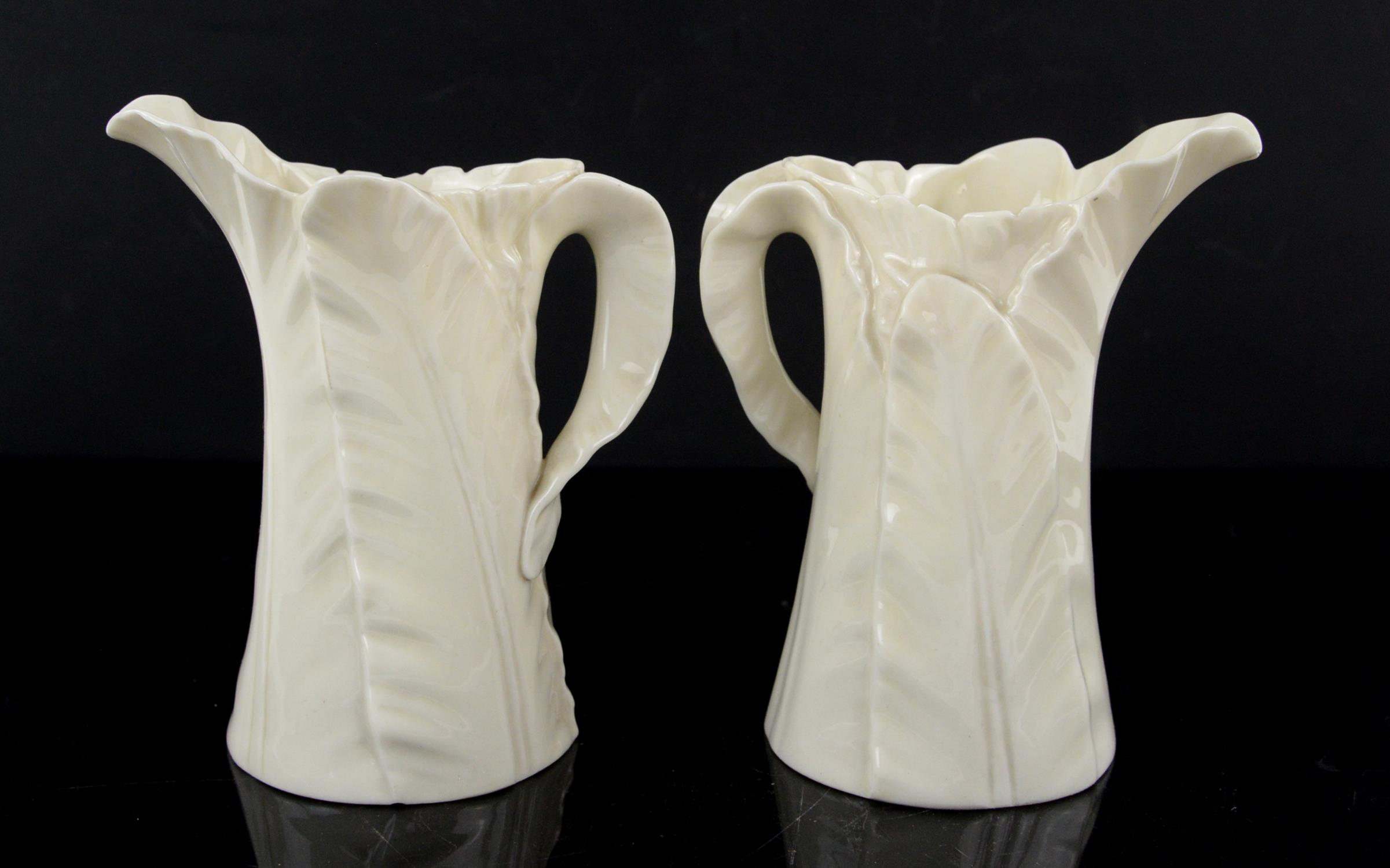 Two Royal Worcester leaf jugs, circa 1920s, green printed marks to base, h15cm - Image 2 of 3