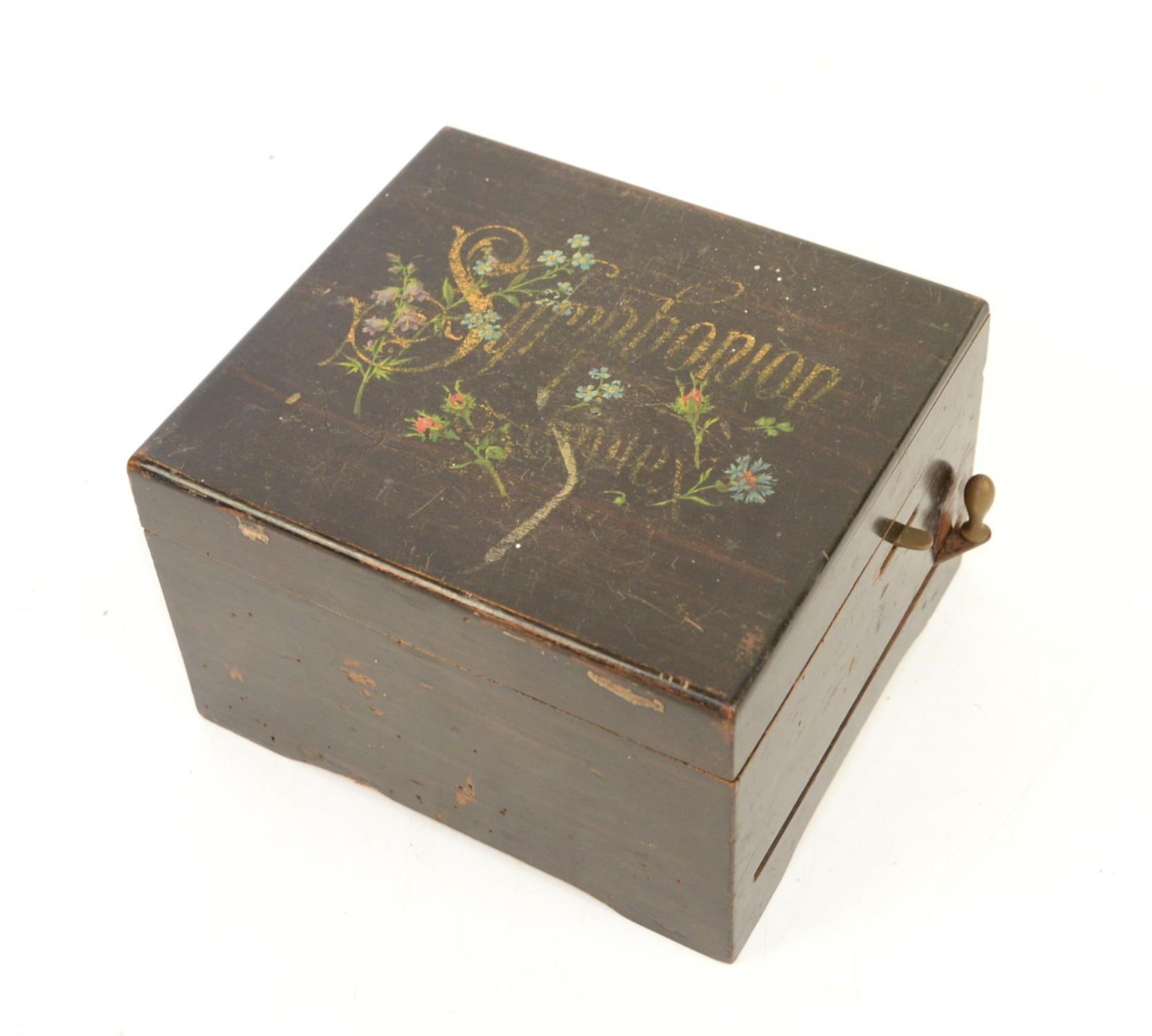 Late 19th century German Symphonion, with a single disc 14.5 cms, the box, 19.5 x 17 cms, - Image 2 of 2