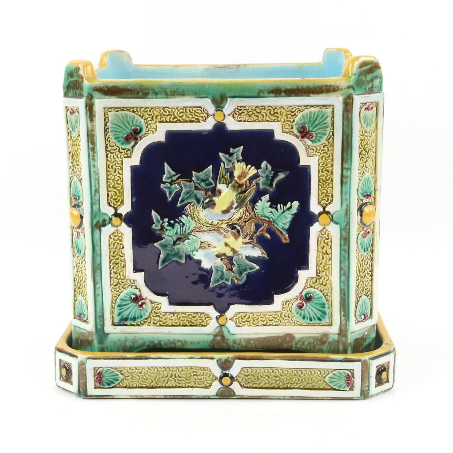 Minton style planter on stand, decorated with pairs of birds on nests. 22cm High, 21.5cm wide, 21. - Image 2 of 10