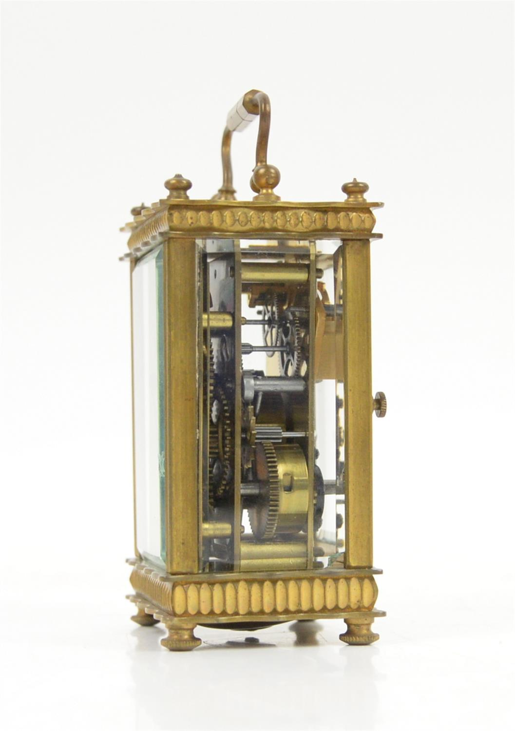 French brass carriage clock, the silvered dial with Arabic numerals and seconds subsidiary dial, - Image 3 of 5