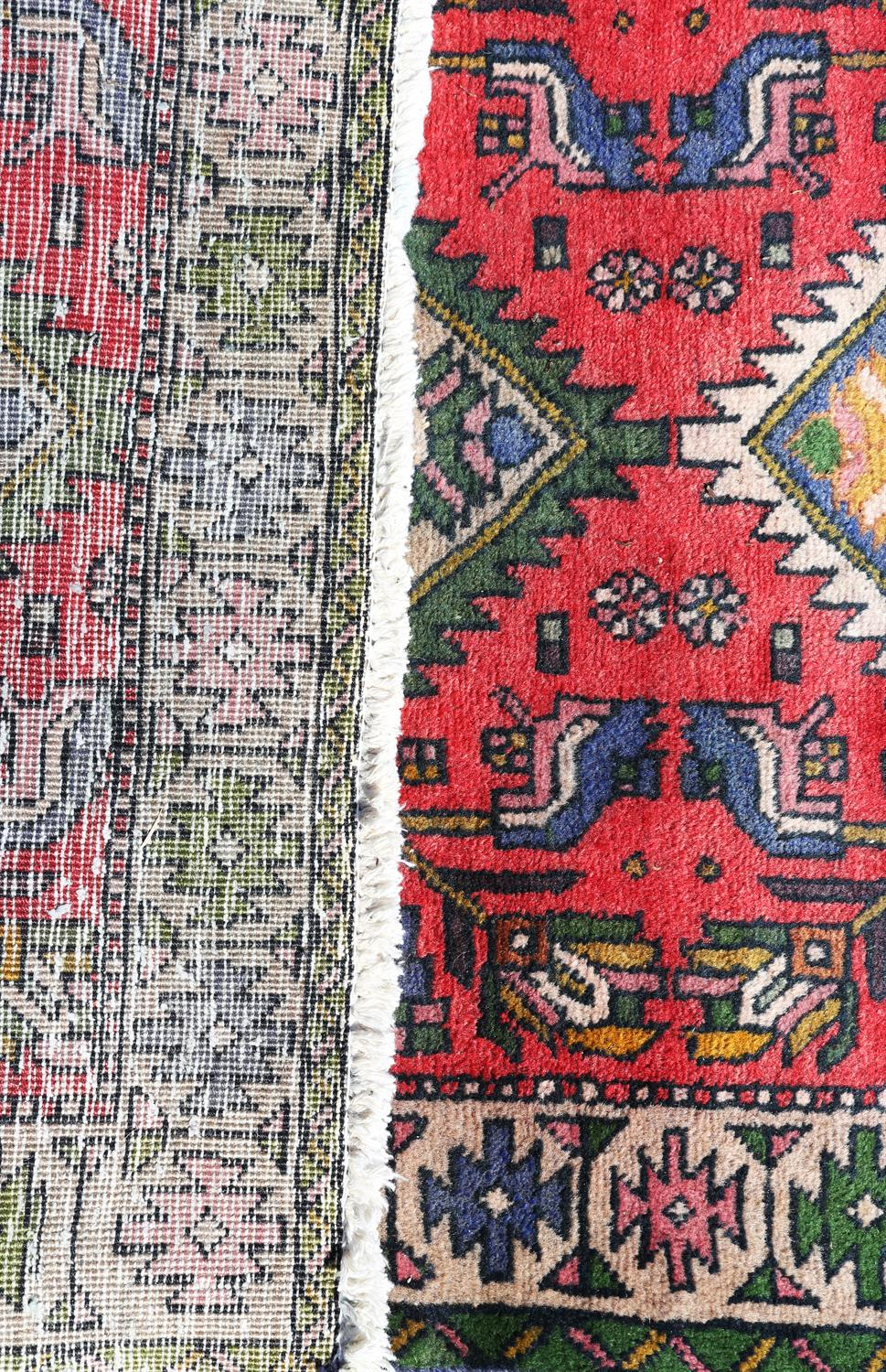 Vintage Persian runner, Northern Iran, with three diamond medallions and stylised floral motifs on - Image 2 of 2