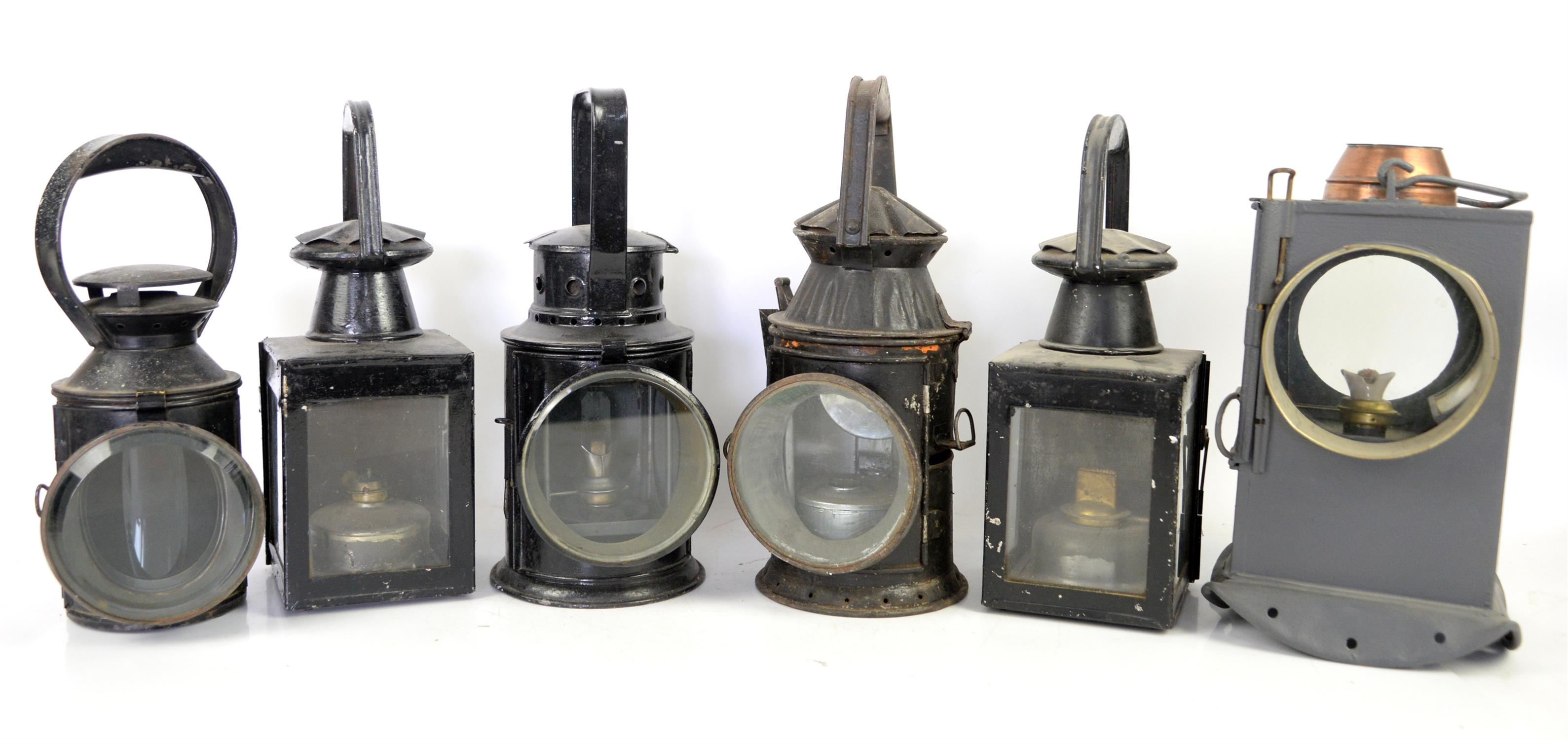Railway Hand lamp by R T Bladon & Son, another stamped L T, WD hand lamp 1954, three colour hand