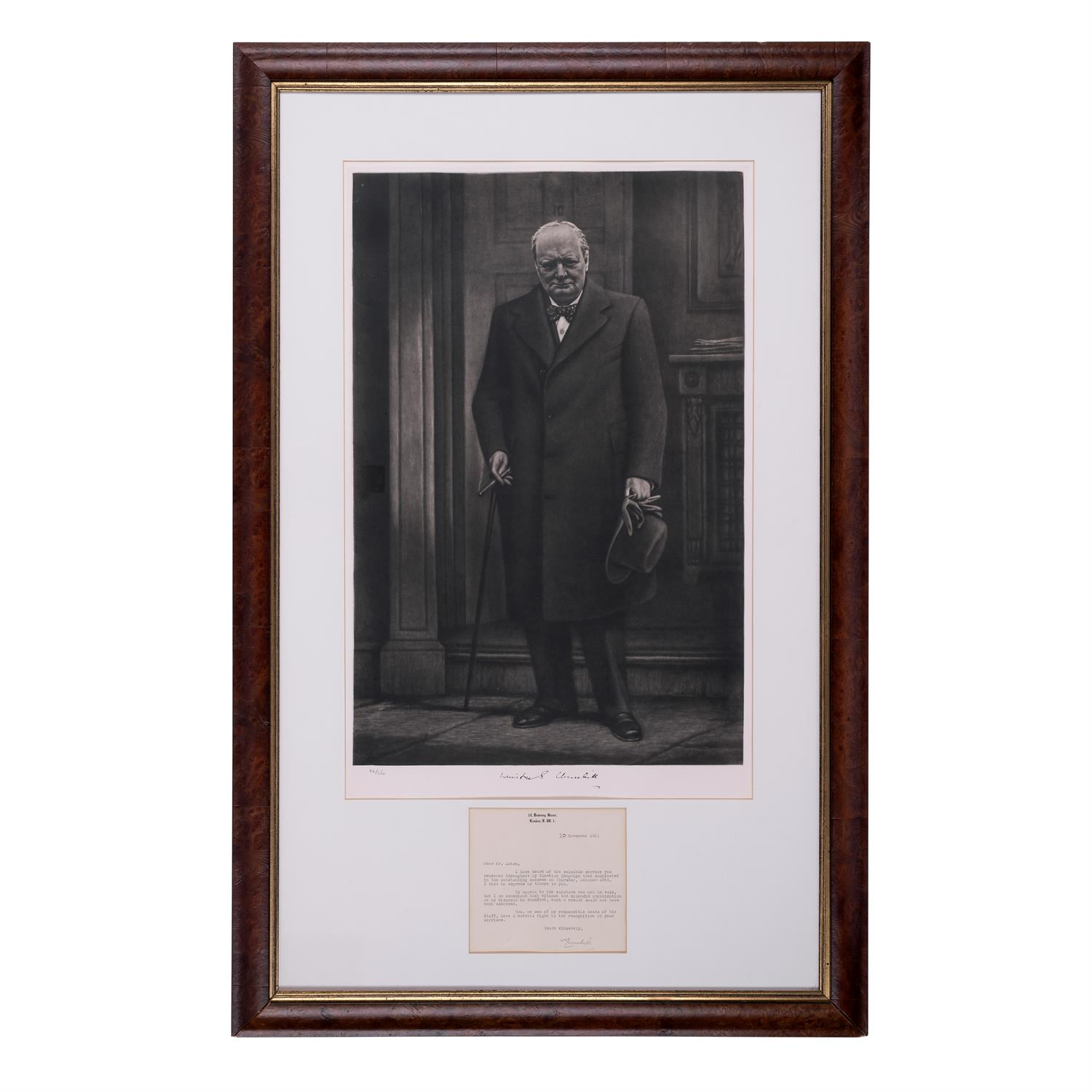 Winston Churchill. Hand signed letter sent from Downing Street, 20th November 1951. To a Mr. - Image 2 of 2