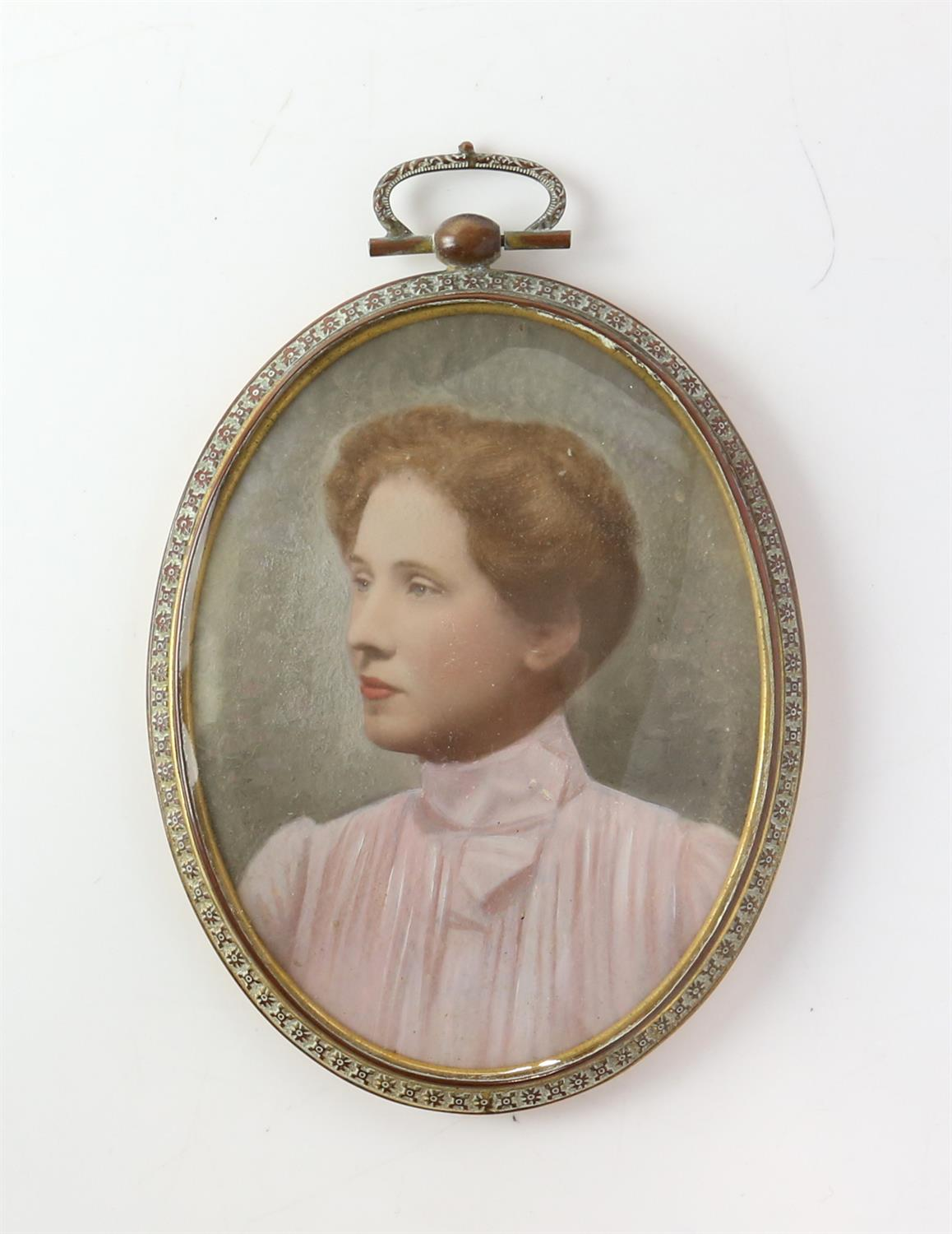 Early 20th century portrait miniature of a lady in a high-collared blouse with her hair up, - Image 2 of 3