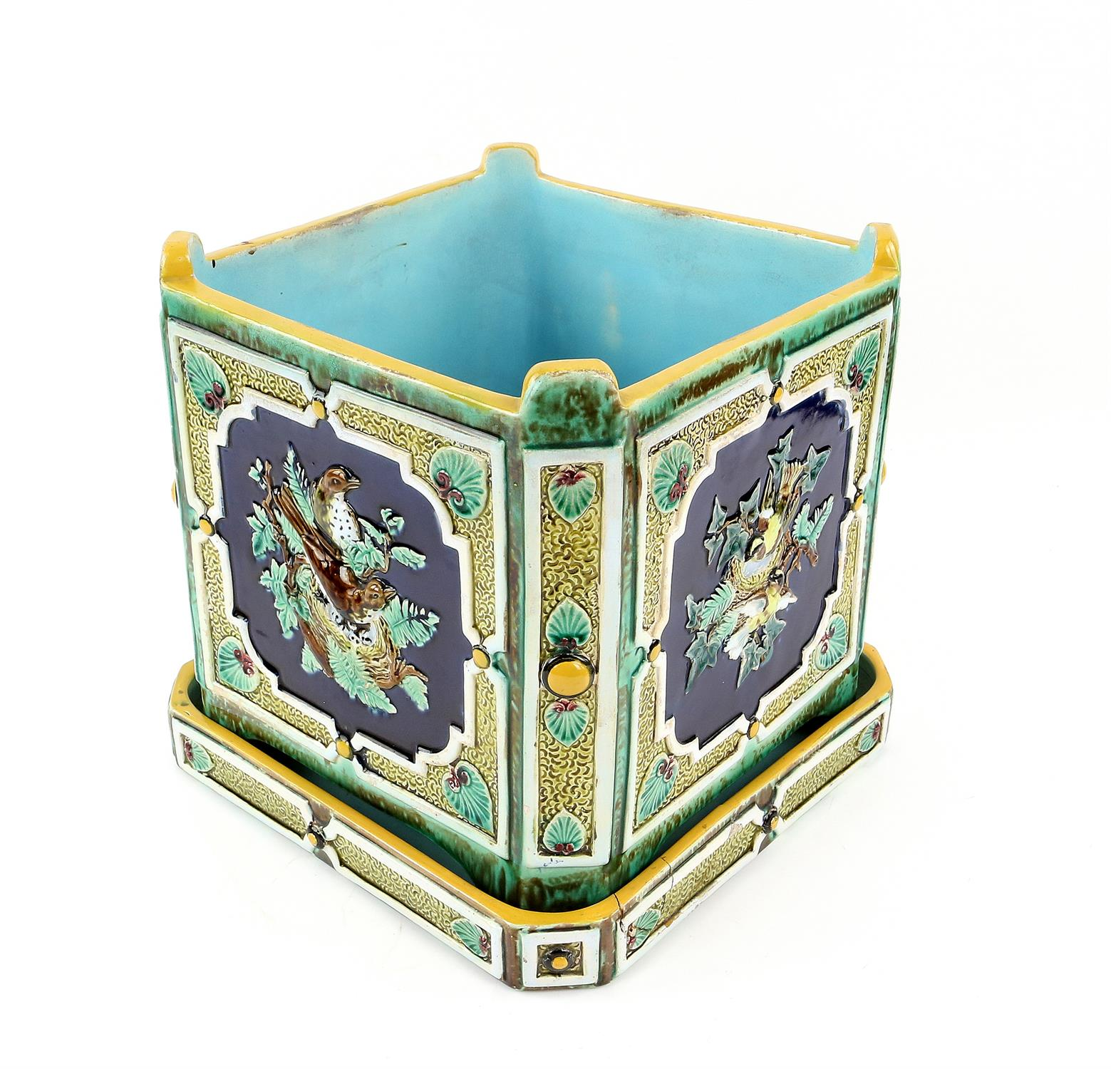 Minton style planter on stand, decorated with pairs of birds on nests. 22cm High, 21.5cm wide, 21. - Image 5 of 10