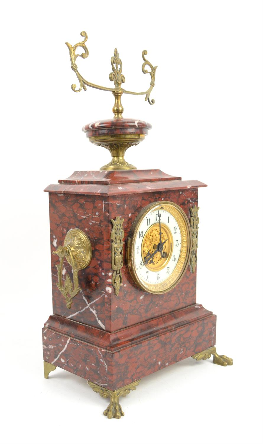 French rouge marble 8 day clock garniture by Japy Freres striking a bell on hour and half hour, - Image 2 of 3