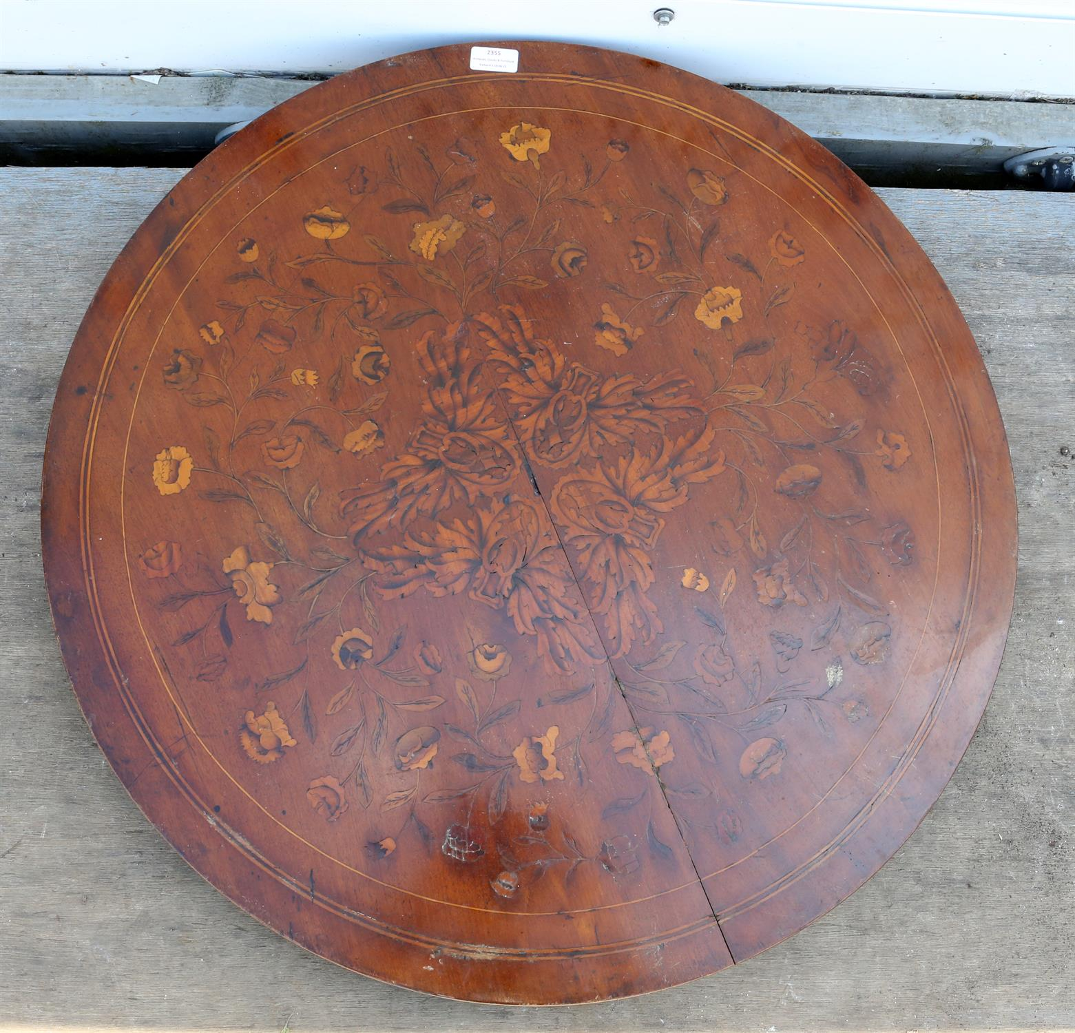 19th century mahogany circular table top, with floral marquetry inlaid decoration, 75cm diameter - Image 2 of 2
