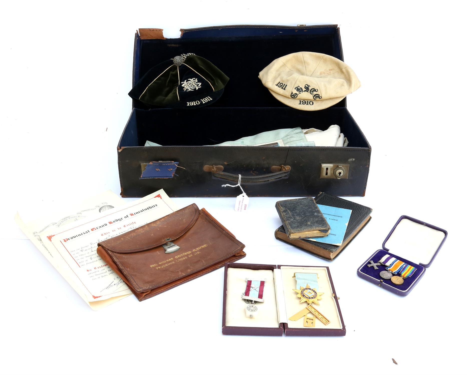 Case of Masonic regalia, to include 9ct gold 'Industria et Labore' presented to W. Bro. R.