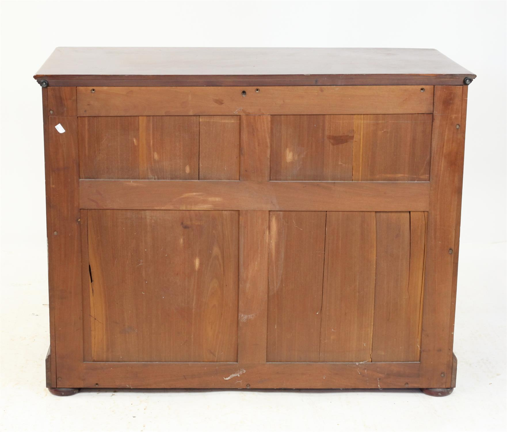 Late 19th / early 20th century mahogany chest of three graduated drawers on bun feet, - Image 2 of 2