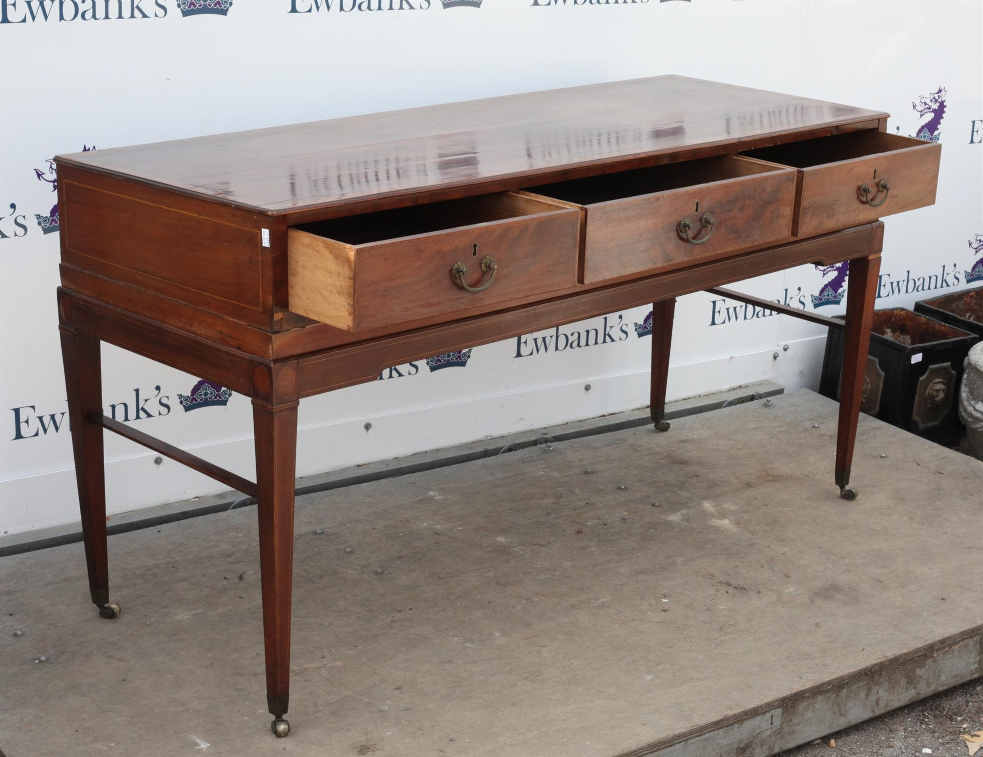 19th century mahogany and satinwood crossbanded side table, with three drawers on square tapered - Image 2 of 2
