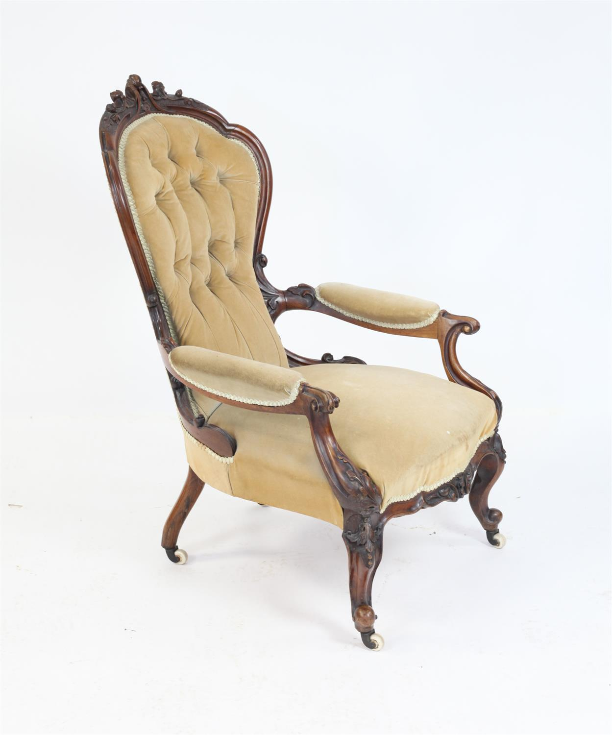 Victorian rosewood framed open armchair with carved back on carved cabriole legs - Image 2 of 3