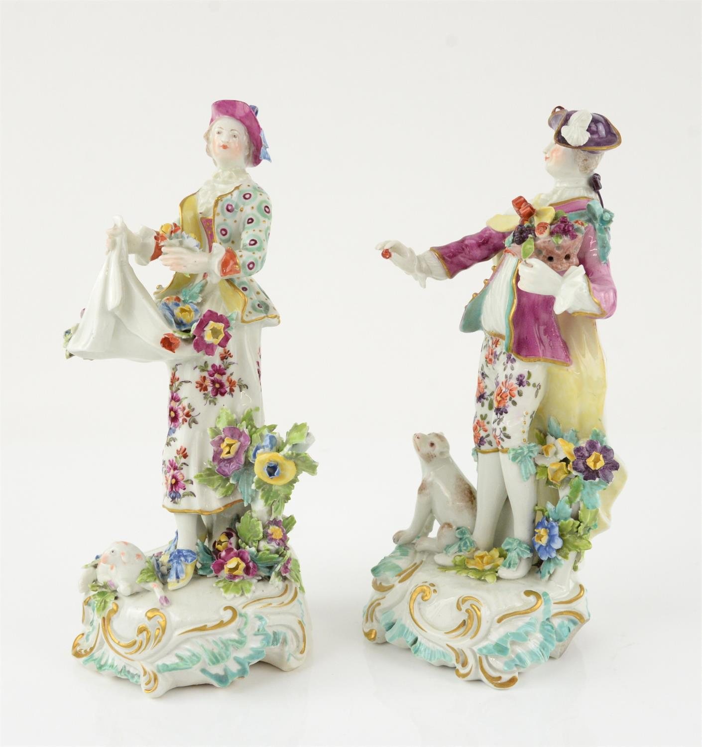 Pair of Derby style porcelain figures of a man holding a basket of fruit and a woman gathering - Image 4 of 5