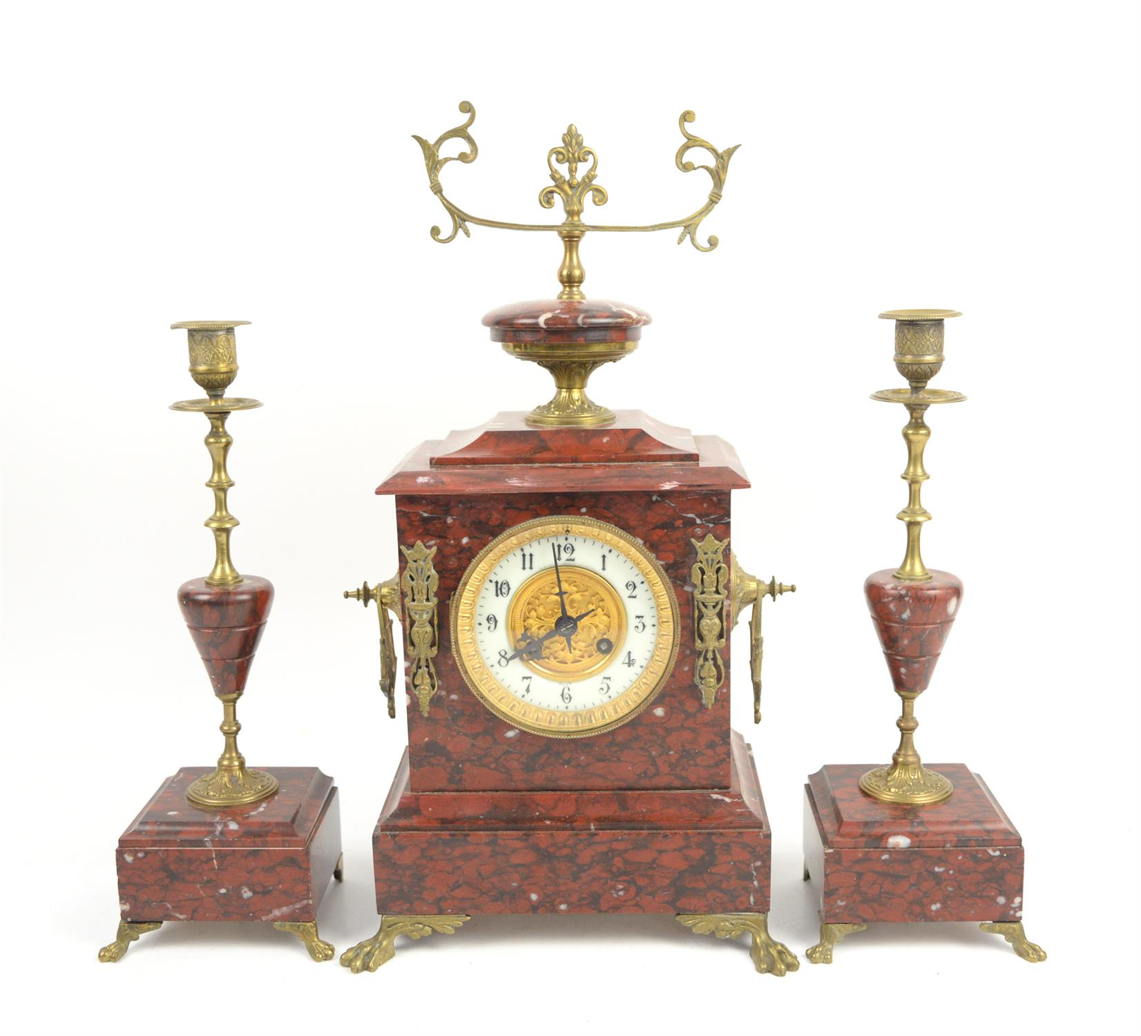 French rouge marble 8 day clock garniture by Japy Freres striking a bell on hour and half hour,
