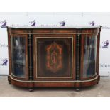 19th century ebonised and walnut and gilt metal mounted credenza, the panelled door with floral