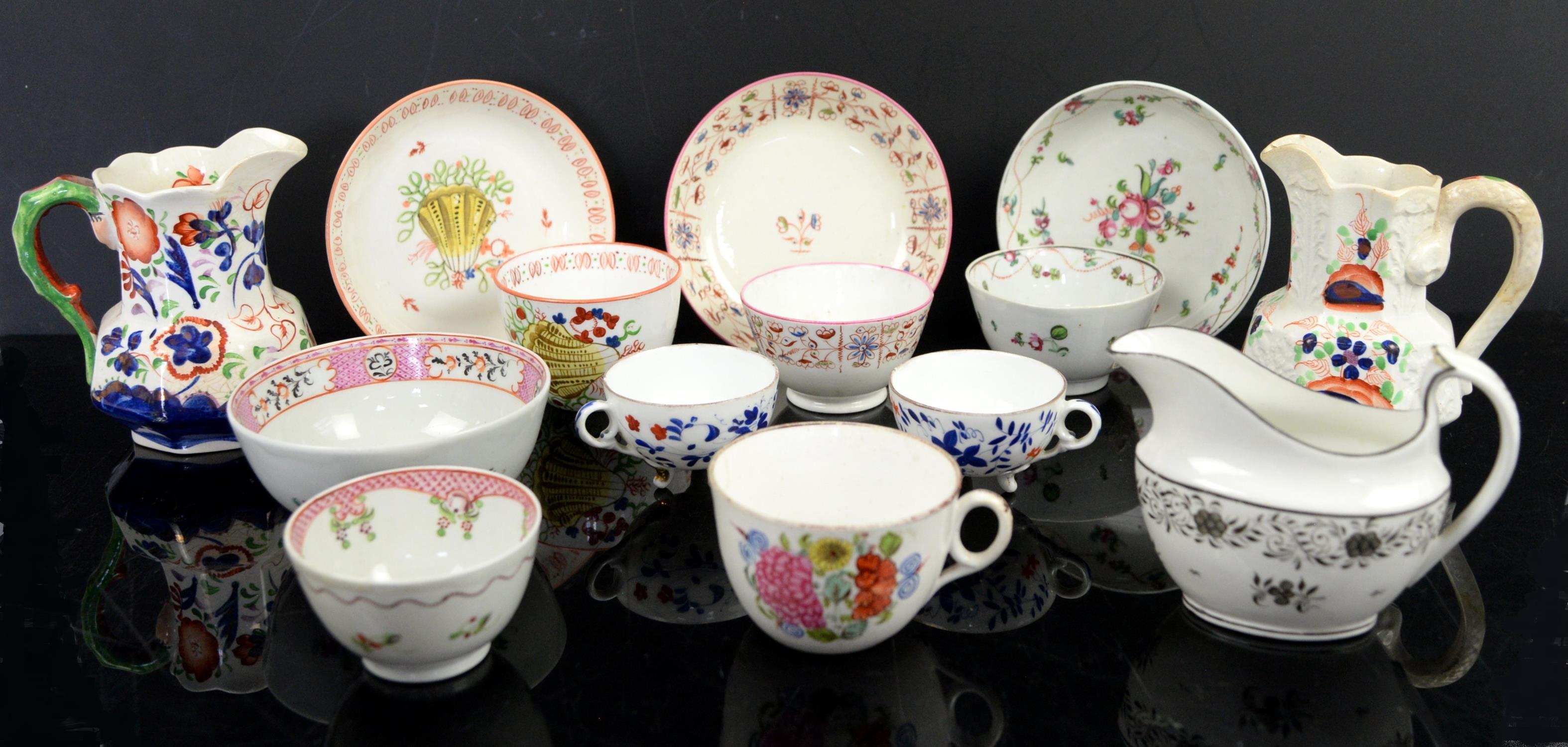 18th century and later porcelain, three tea bowls and saucers, including New Hall decorated with