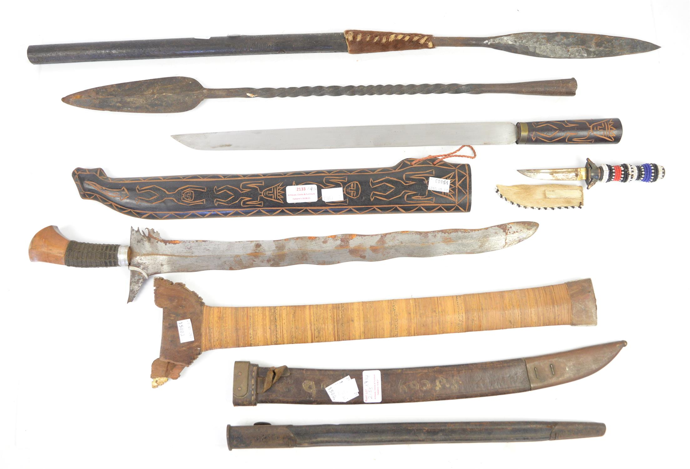 AMENDED DESCRIPTION Seven reproduction shields, various designs, one Indonesian Kris, two spears, - Image 3 of 3