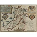 JOHN SPEED Cardiganshire, engraving with inset vignette plan of Cardigan, sea monsters and galleons,