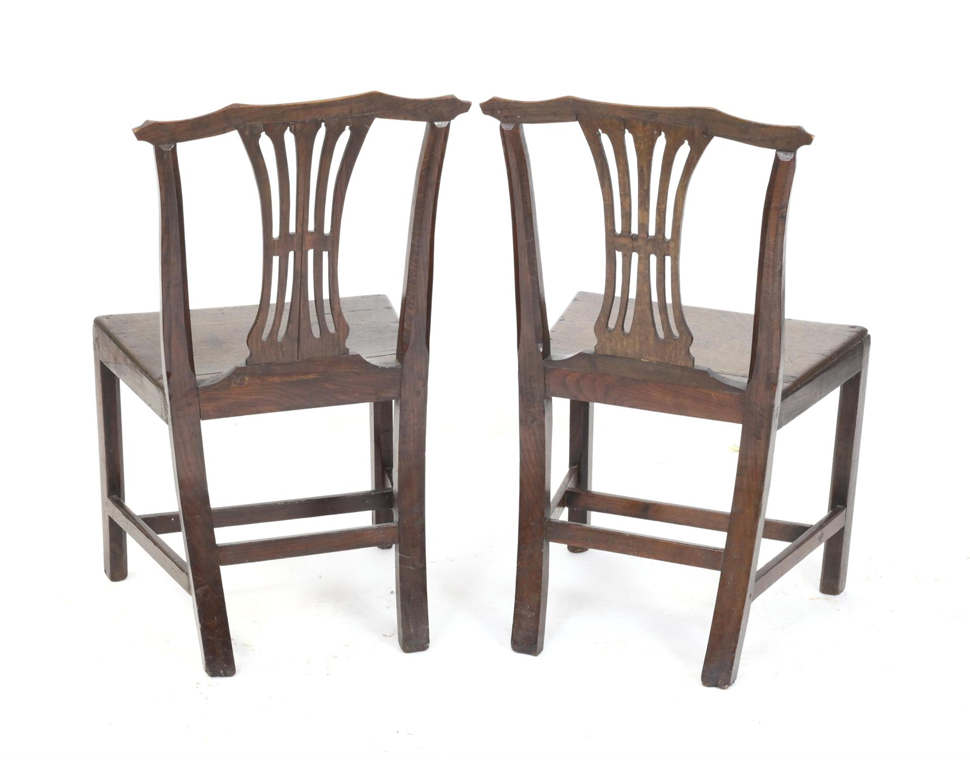 Pair of early 19th century oak country made dining chairs with carved splat backs on square - Image 2 of 2