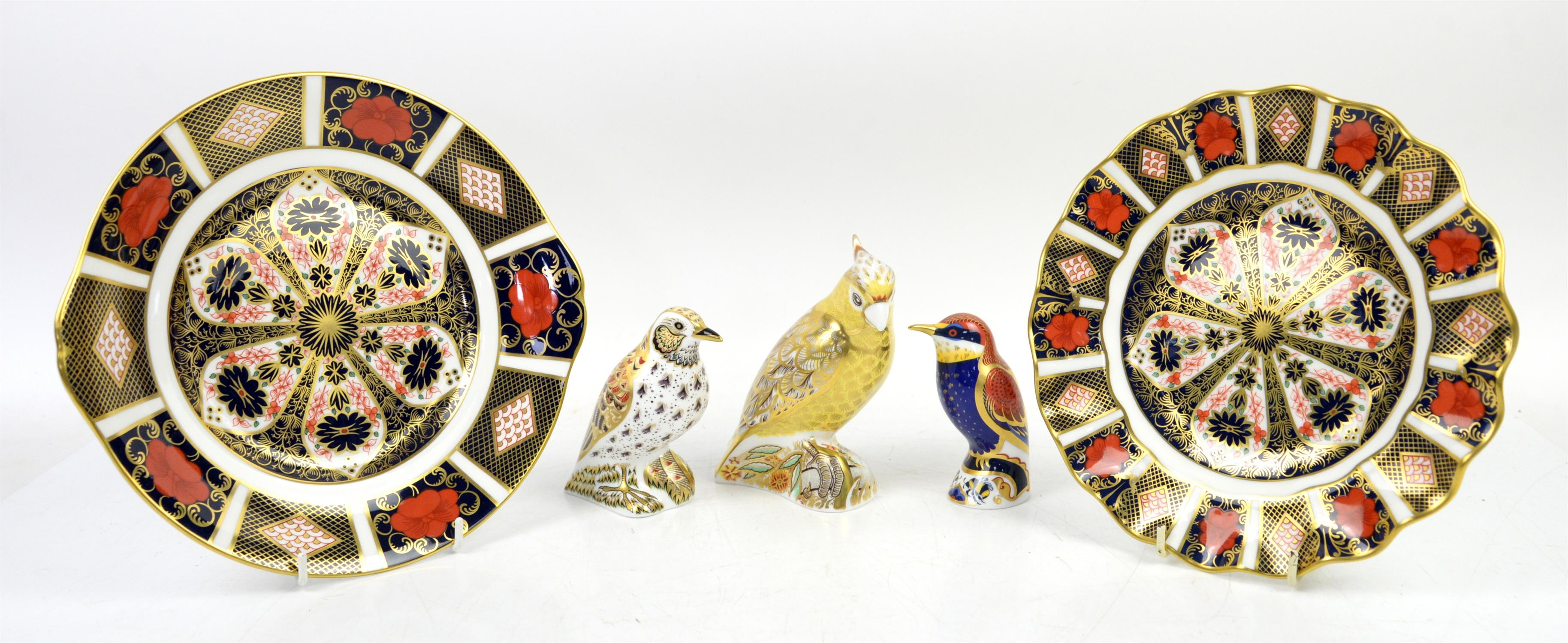 Three Crown Derby paperweights with gold stoppers, Citron Cockatoo, Song Thursh and Bee- eater and