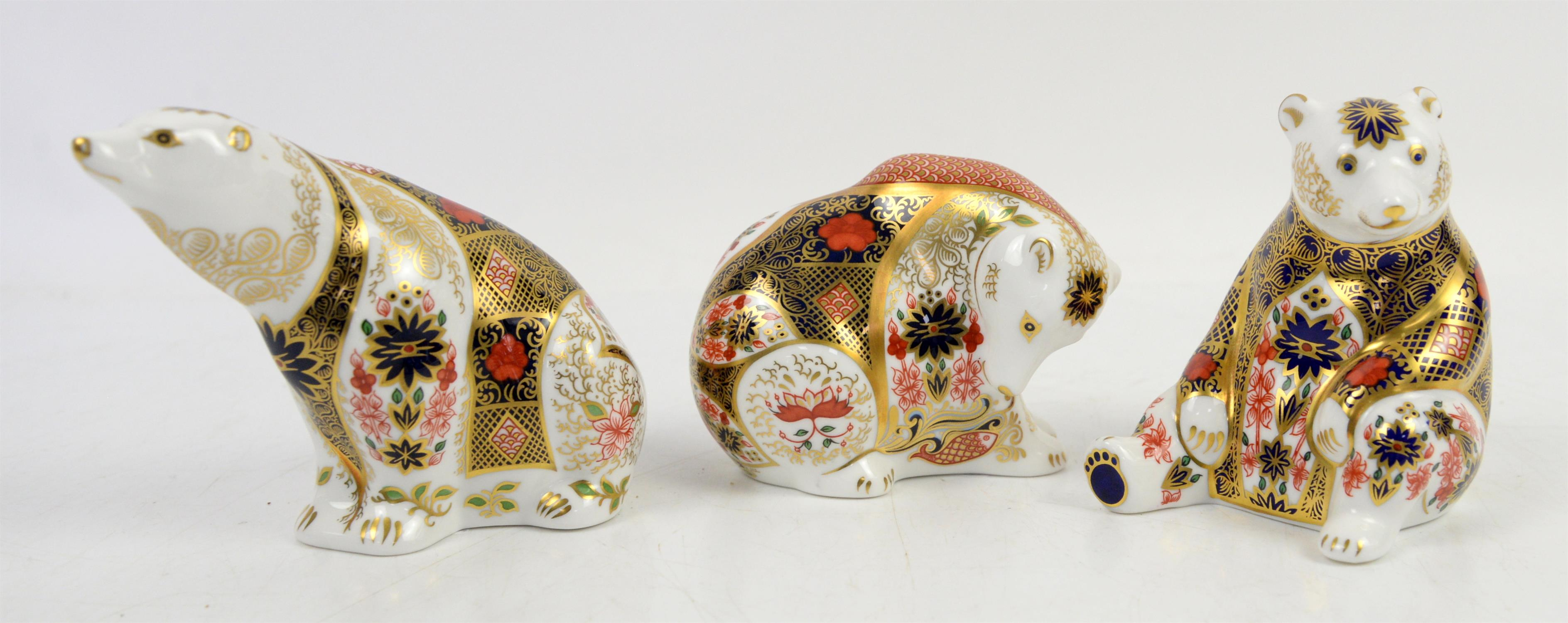 Royal Crown Derby paperweights to include a Sue Rowe bear h10.5cm, Rocky Mountain bear and a Polar