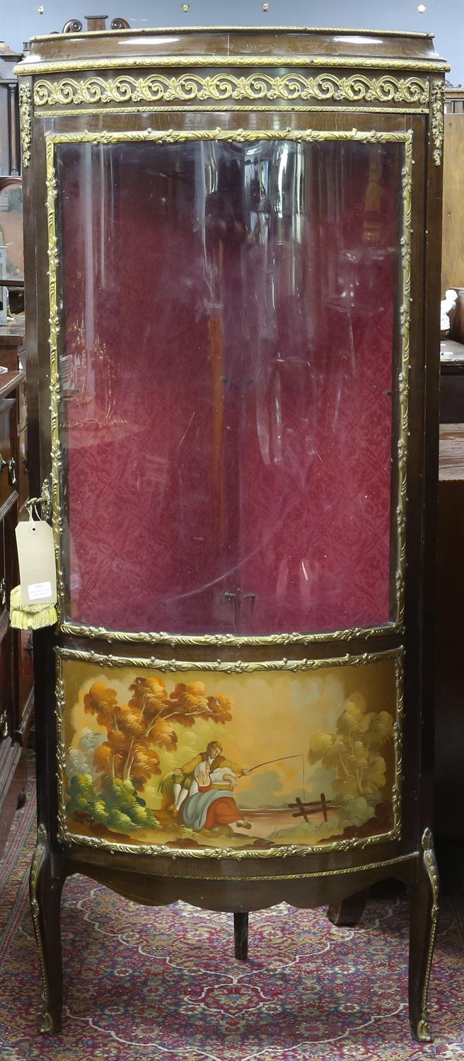 20th century bow fronted corner display cabinet, the door with Vernis Martin style panel depicting
