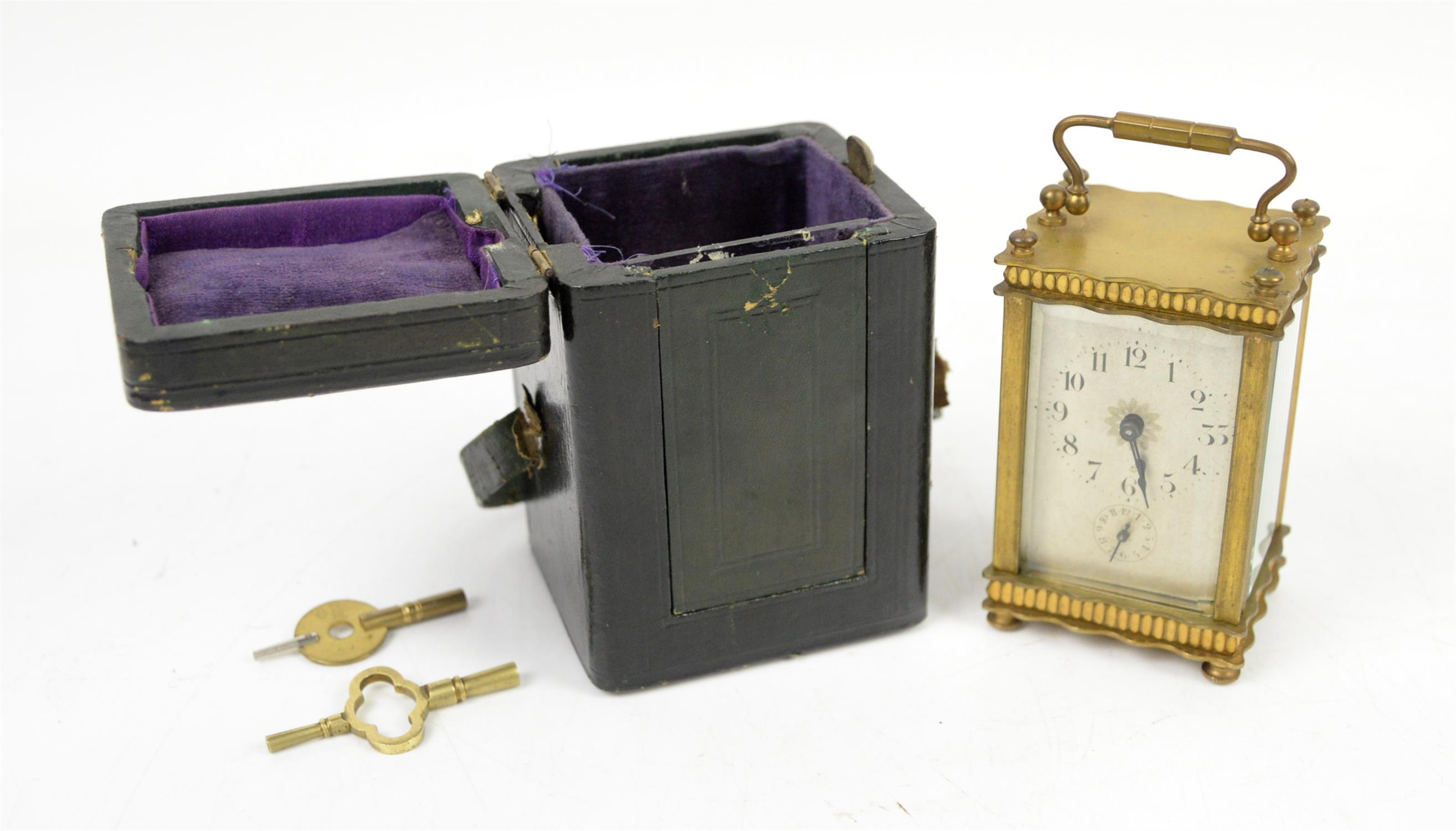 French brass carriage clock, the silvered dial with Arabic numerals and seconds subsidiary dial, - Image 5 of 5