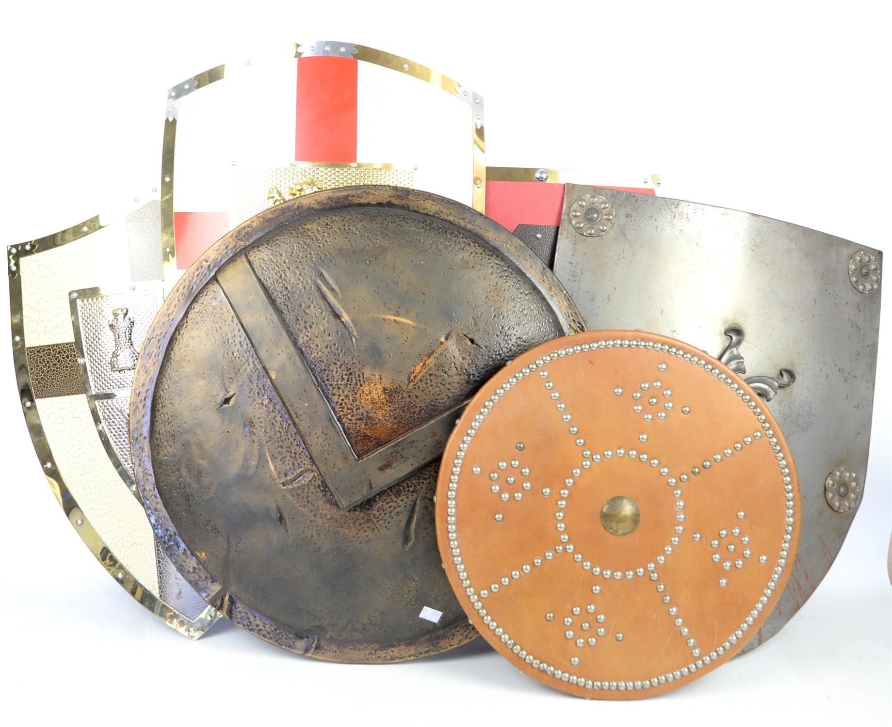 AMENDED DESCRIPTION Seven reproduction shields, various designs, one Indonesian Kris, two spears,