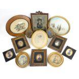 Set of three 19th century oval portrait miniatures, each 7cm x 5.5cm, frame size 20.5cm x 18cm,
