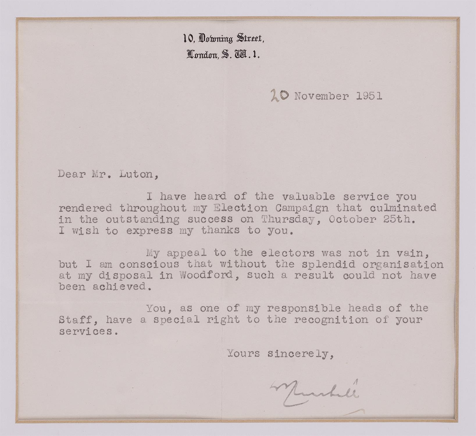 Winston Churchill. Hand signed letter sent from Downing Street, 20th November 1951. To a Mr.