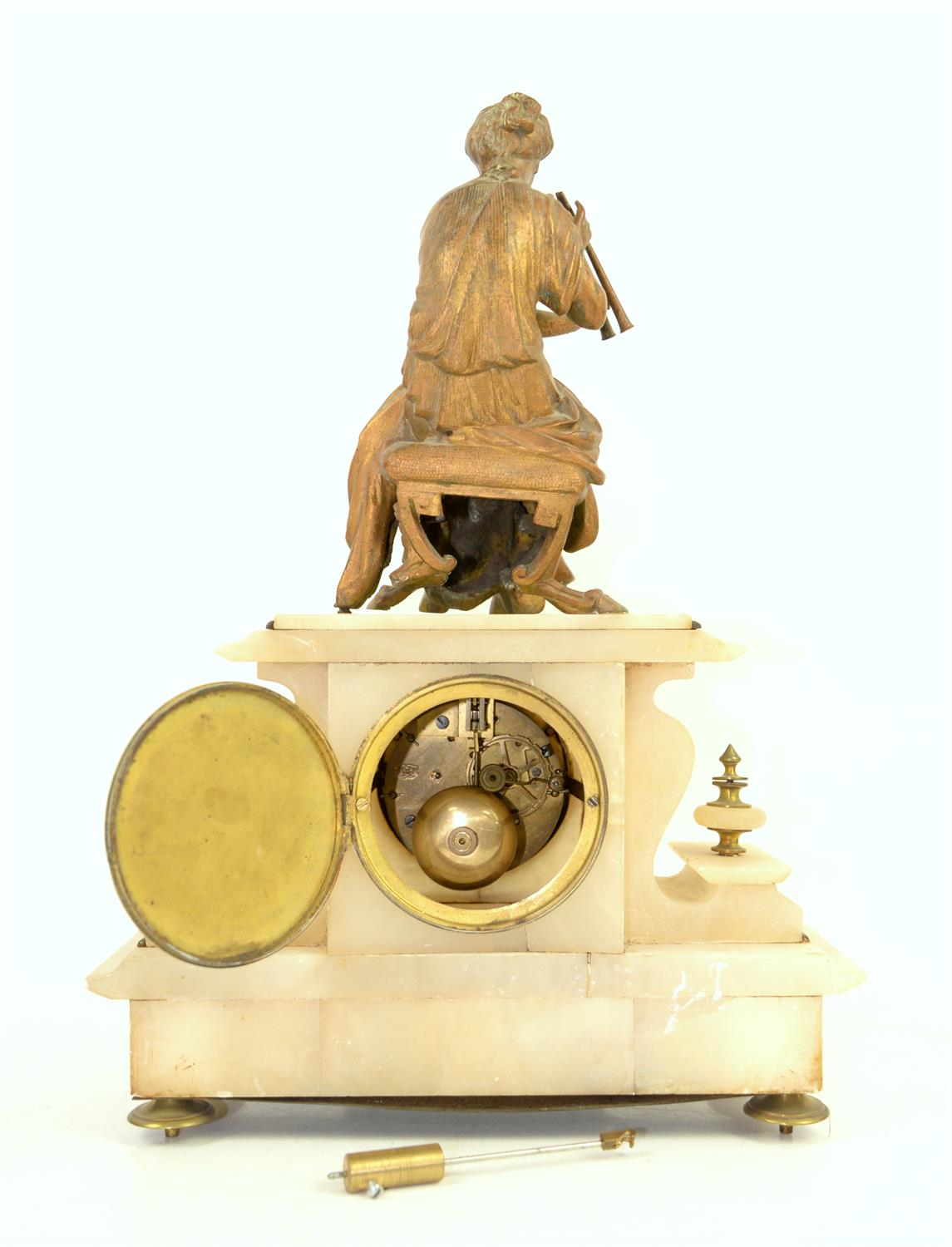 French alabaster mantel clock with spelter figure of a classical lady playing music, - Image 2 of 2