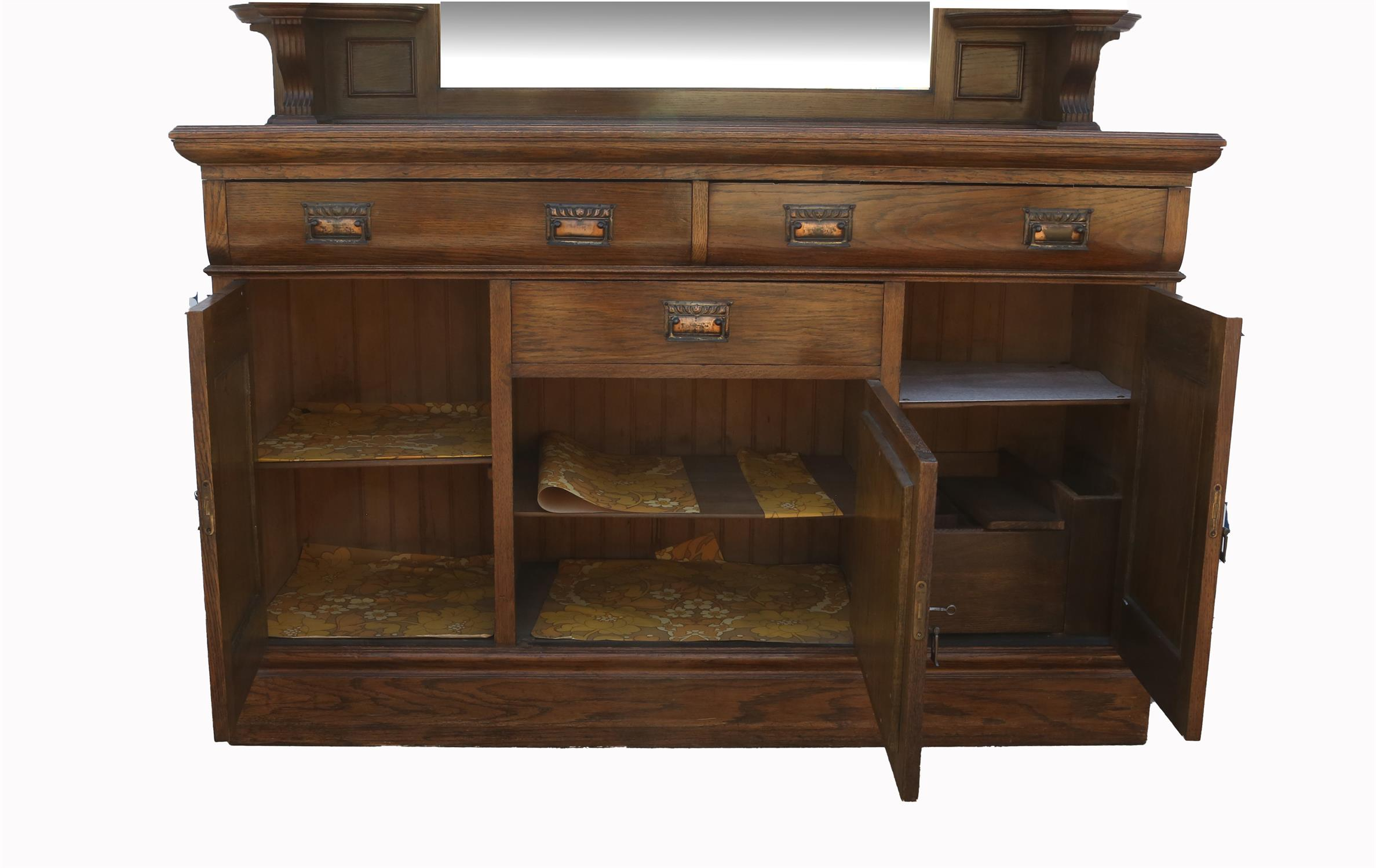 Art Nouveau mirrored back oak sideboard, with bevelled glass plates flanked by floral carved panels - Image 2 of 2