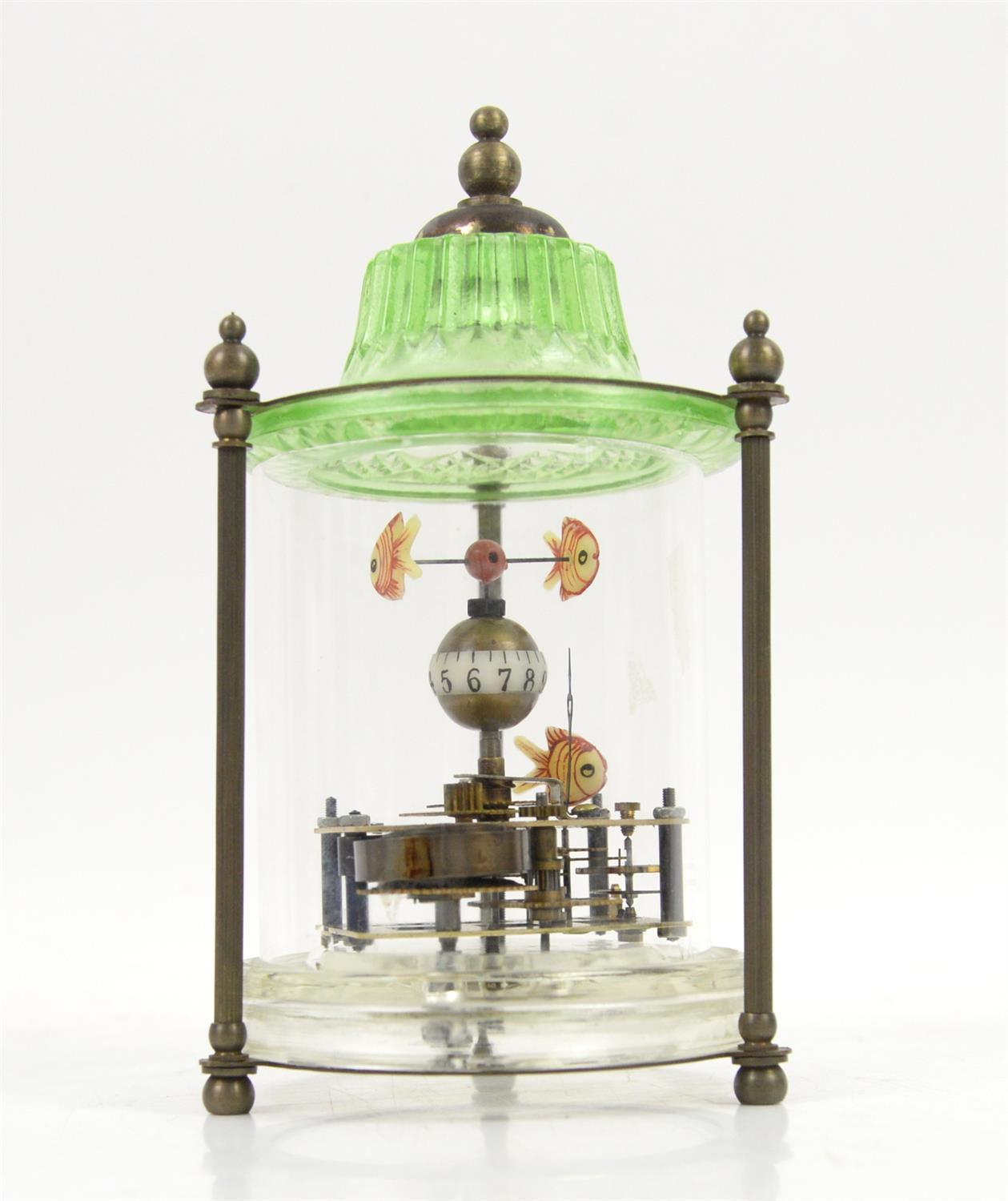 Chinese style automaton clock in glass cylindrical case with pagoda top, three reeded column