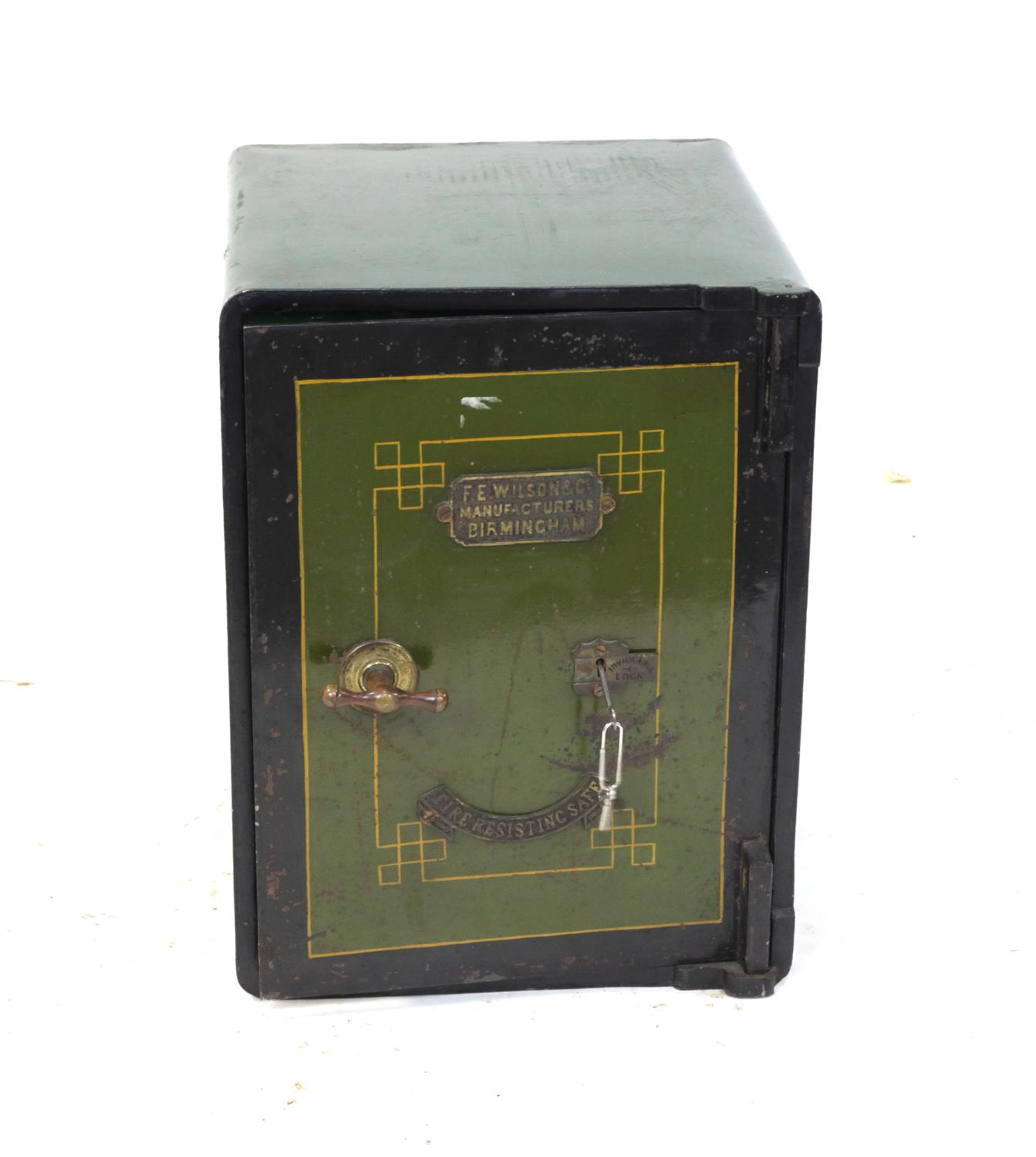 F E Wilson & Co. safe, the interior with a single drawer, H57.5 x W43 x D46cm