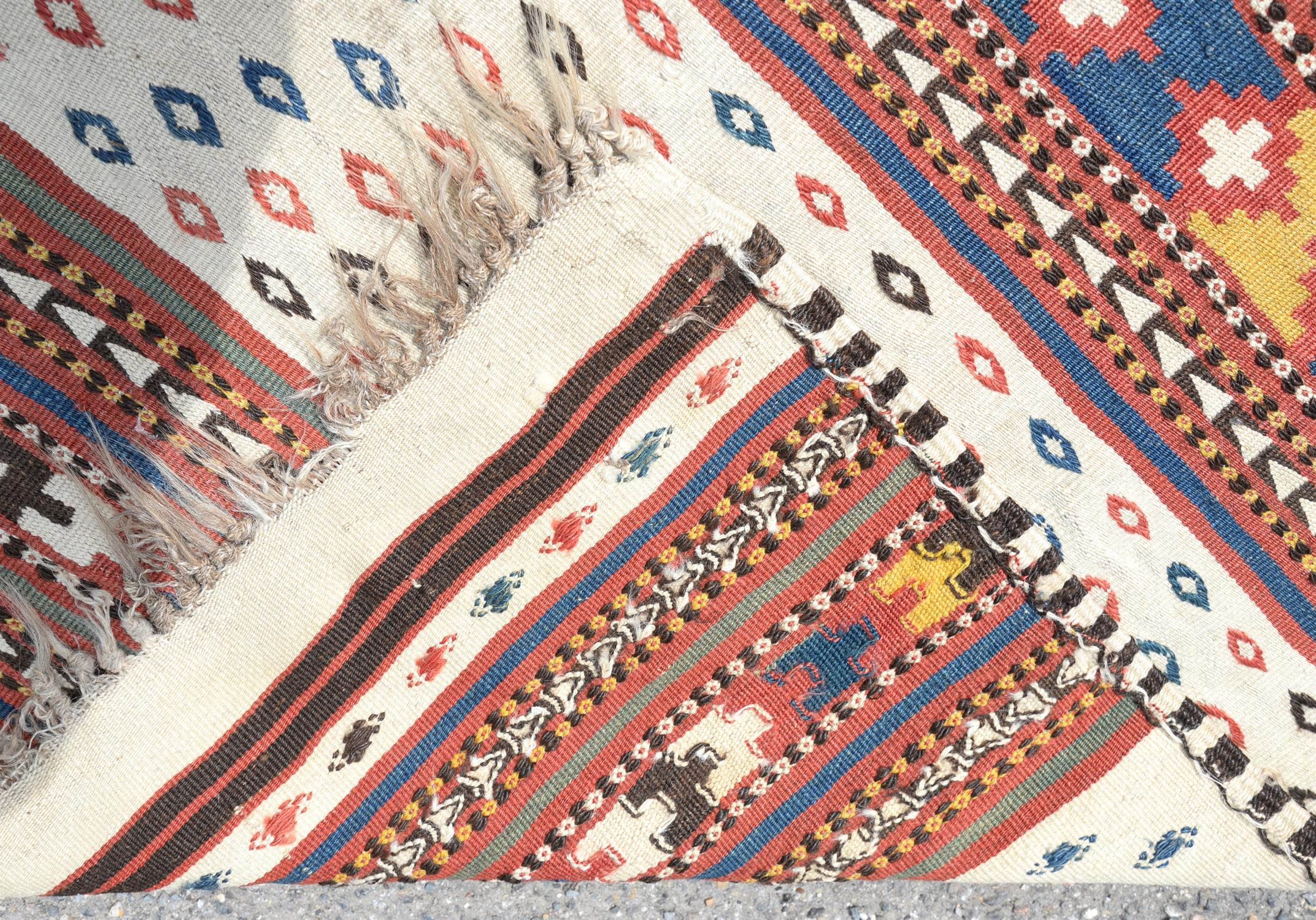 Tribal woven wall hanging with bands of geometric decoration, 124 x 130cm - Image 2 of 2